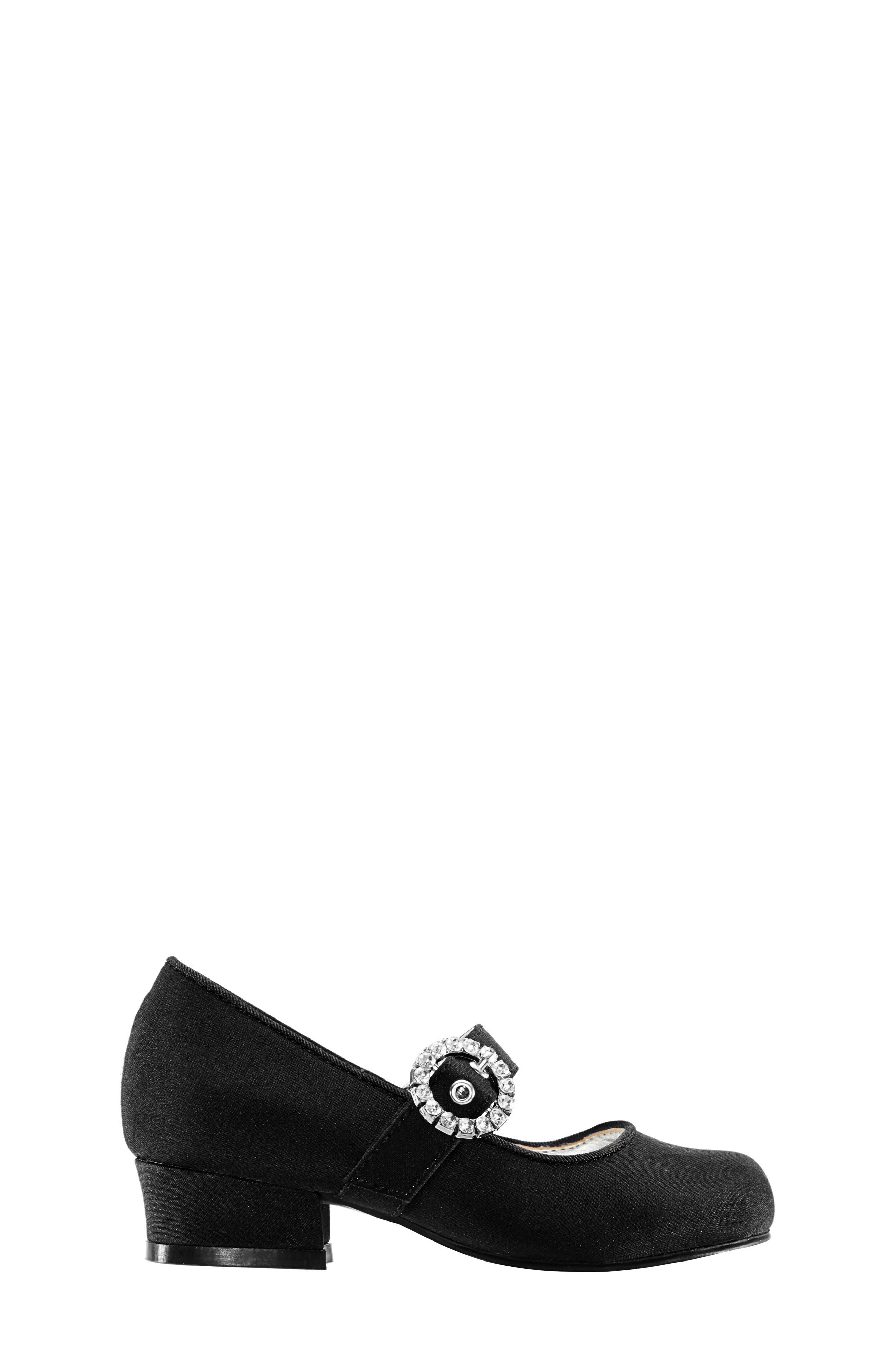 Dulce Block Heel Mary Jane,                             Alternate thumbnail 3, color,                             BLACK LUSTER SATIN