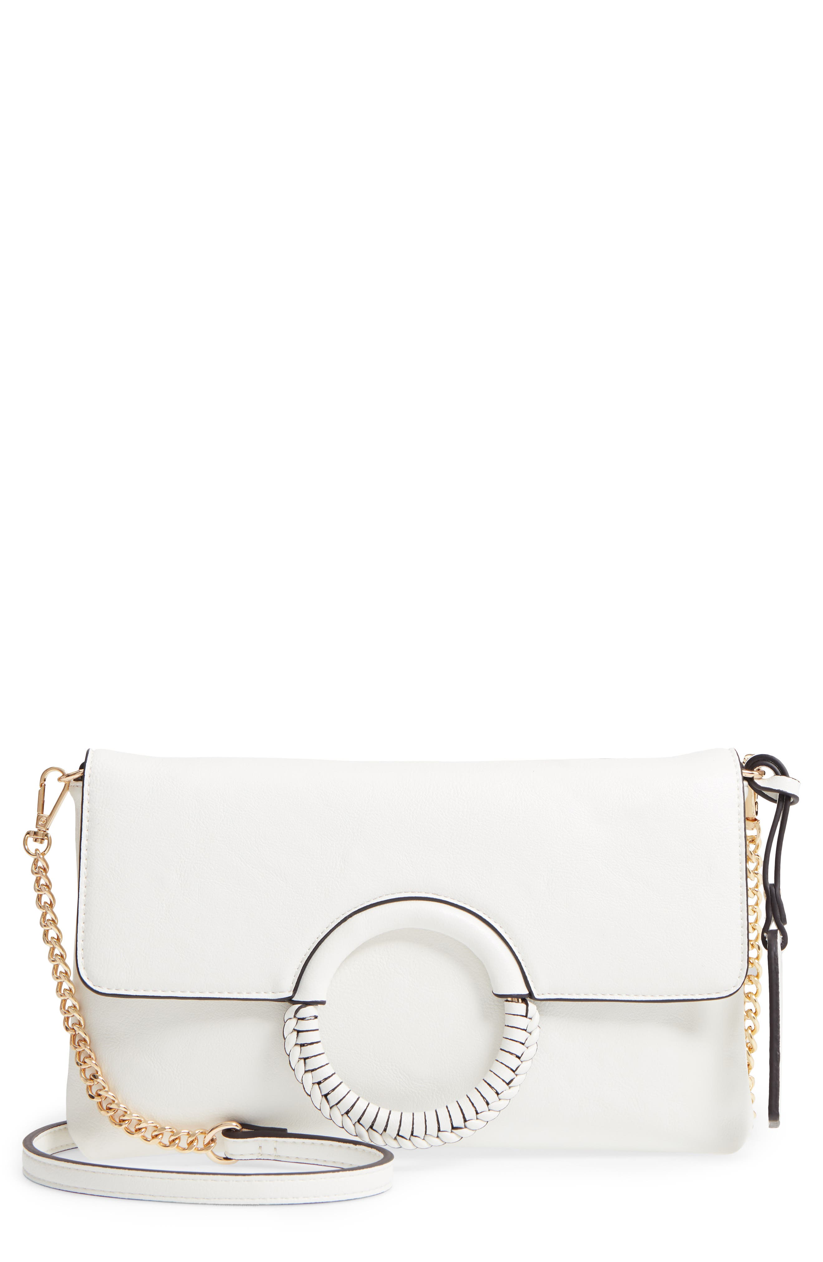 Faux Leather Clutch,                         Main,                         color, WHITE