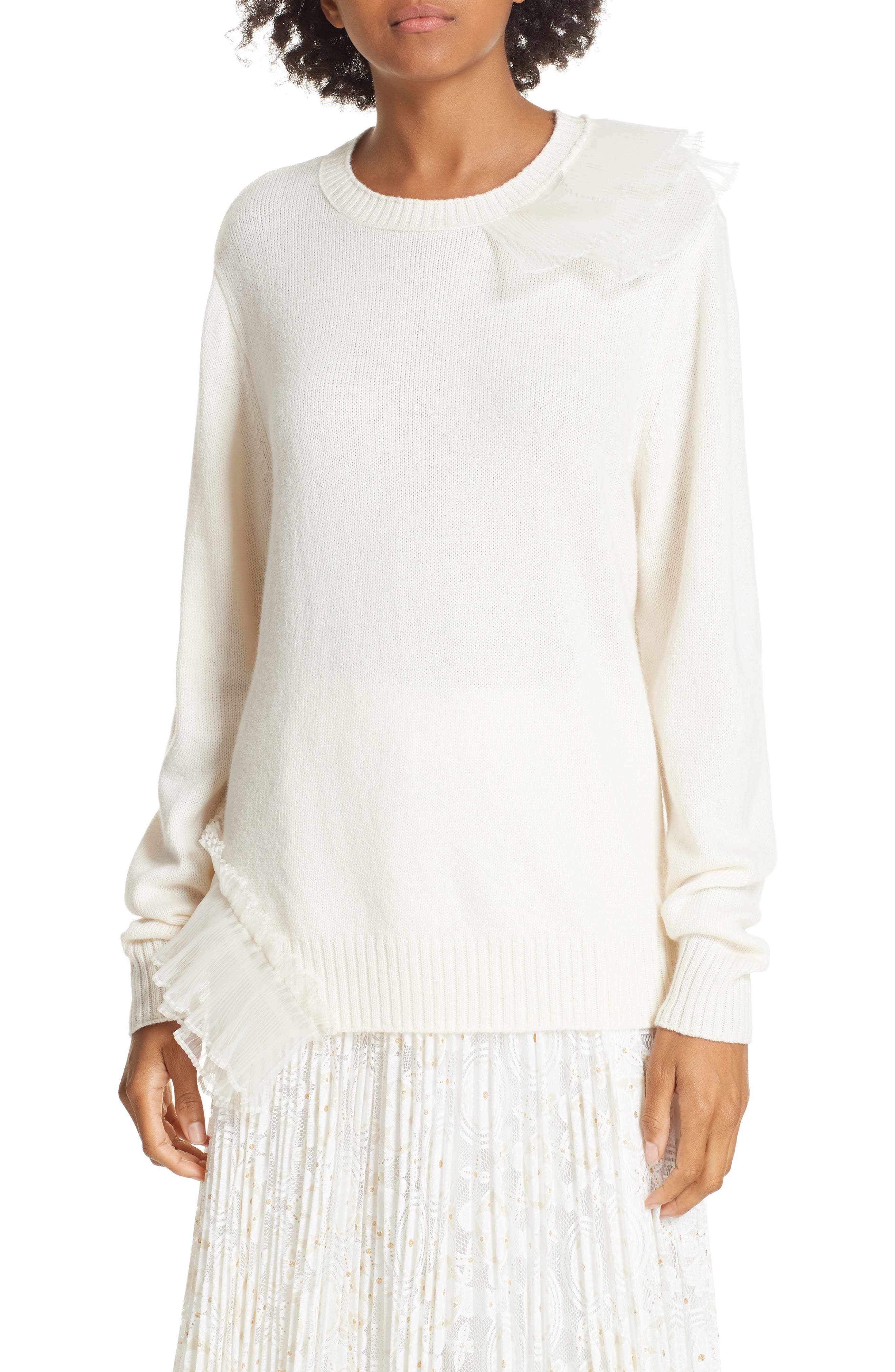 Asymmetric Ruffle Trim Sweater,                             Main thumbnail 1, color,                             IVORY