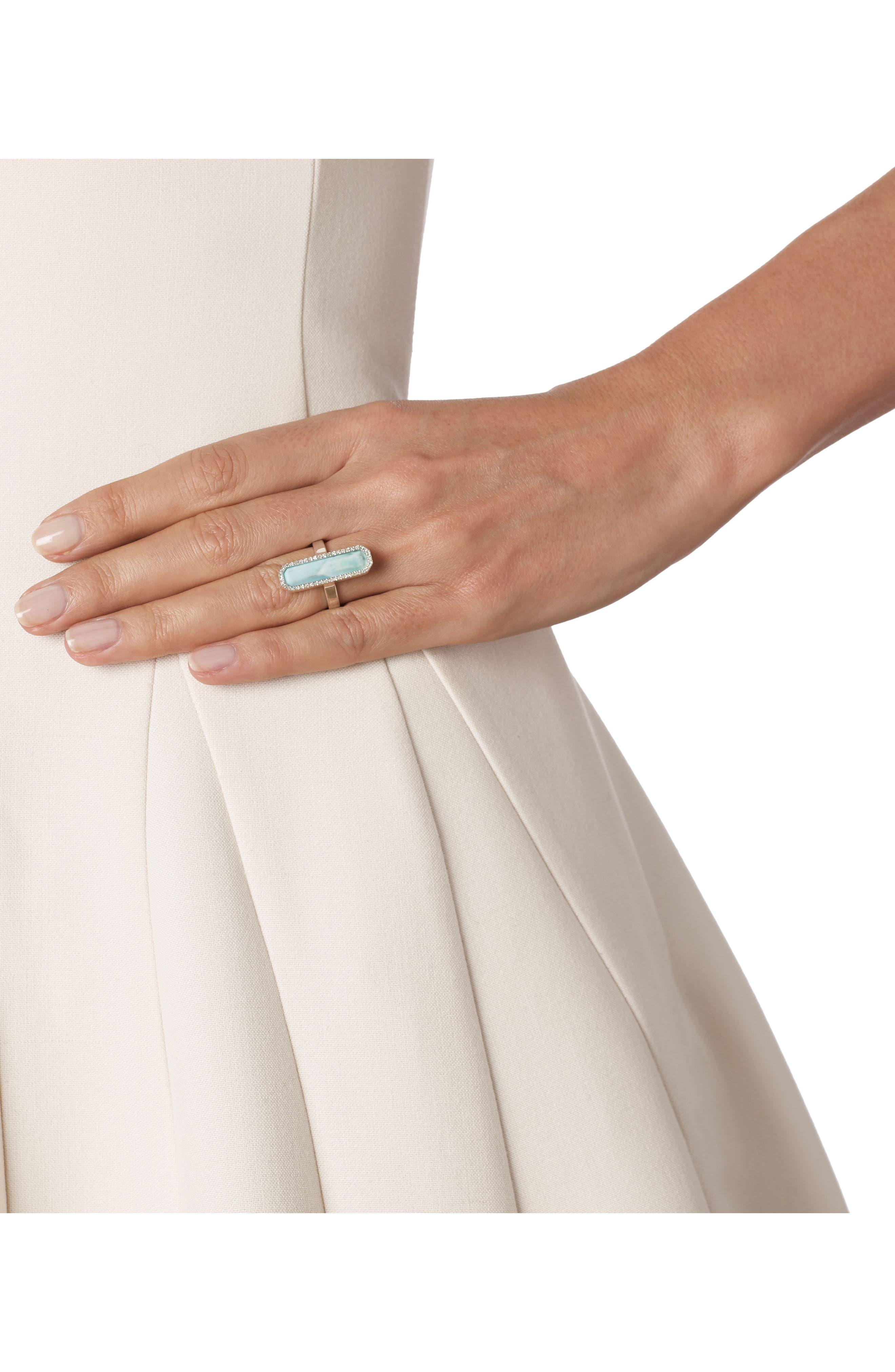 Naida Diamond & Larimar Cocktail Ring,                             Alternate thumbnail 4, color,                             040