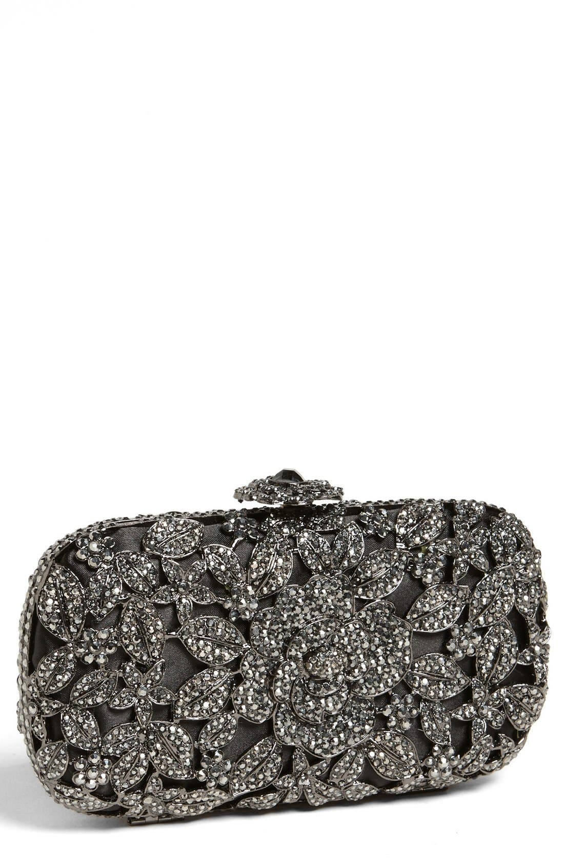 Natasha Couture Crystal Caged Floral Clutch,                             Main thumbnail 1, color,                             001