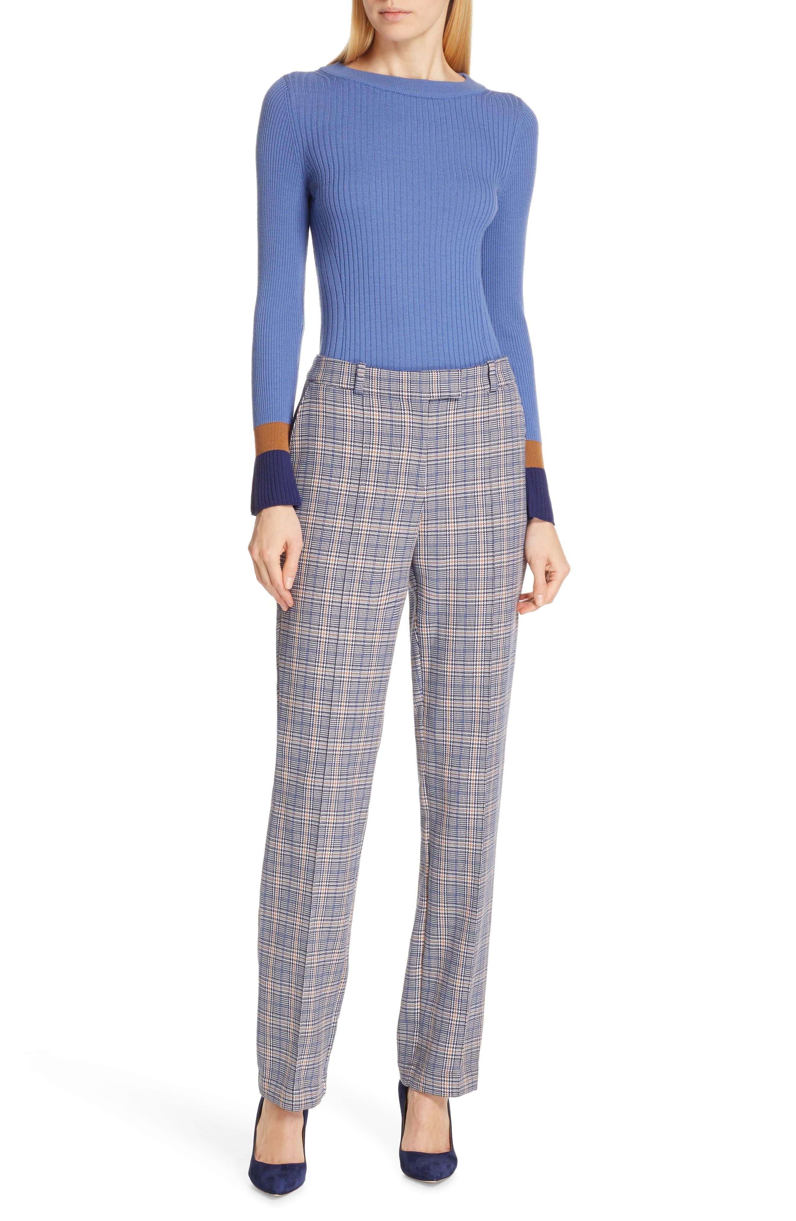 Fadeline Blue Fantasy Ribbed Wool Sweater,                             Alternate thumbnail 7, color,                             SOFT BLUE FANTASY