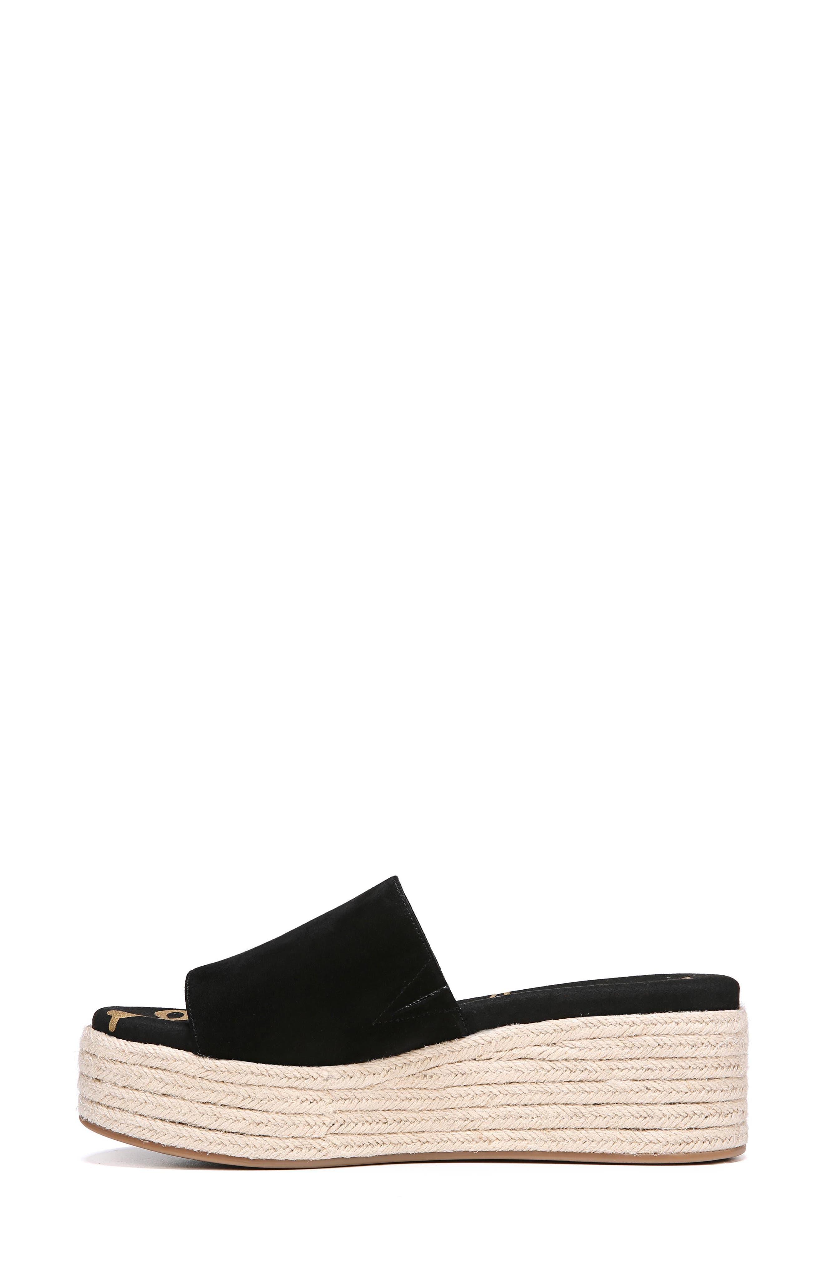 Weslee Platform Slide Sandal,                             Alternate thumbnail 3, color,                             BLACK SUEDE