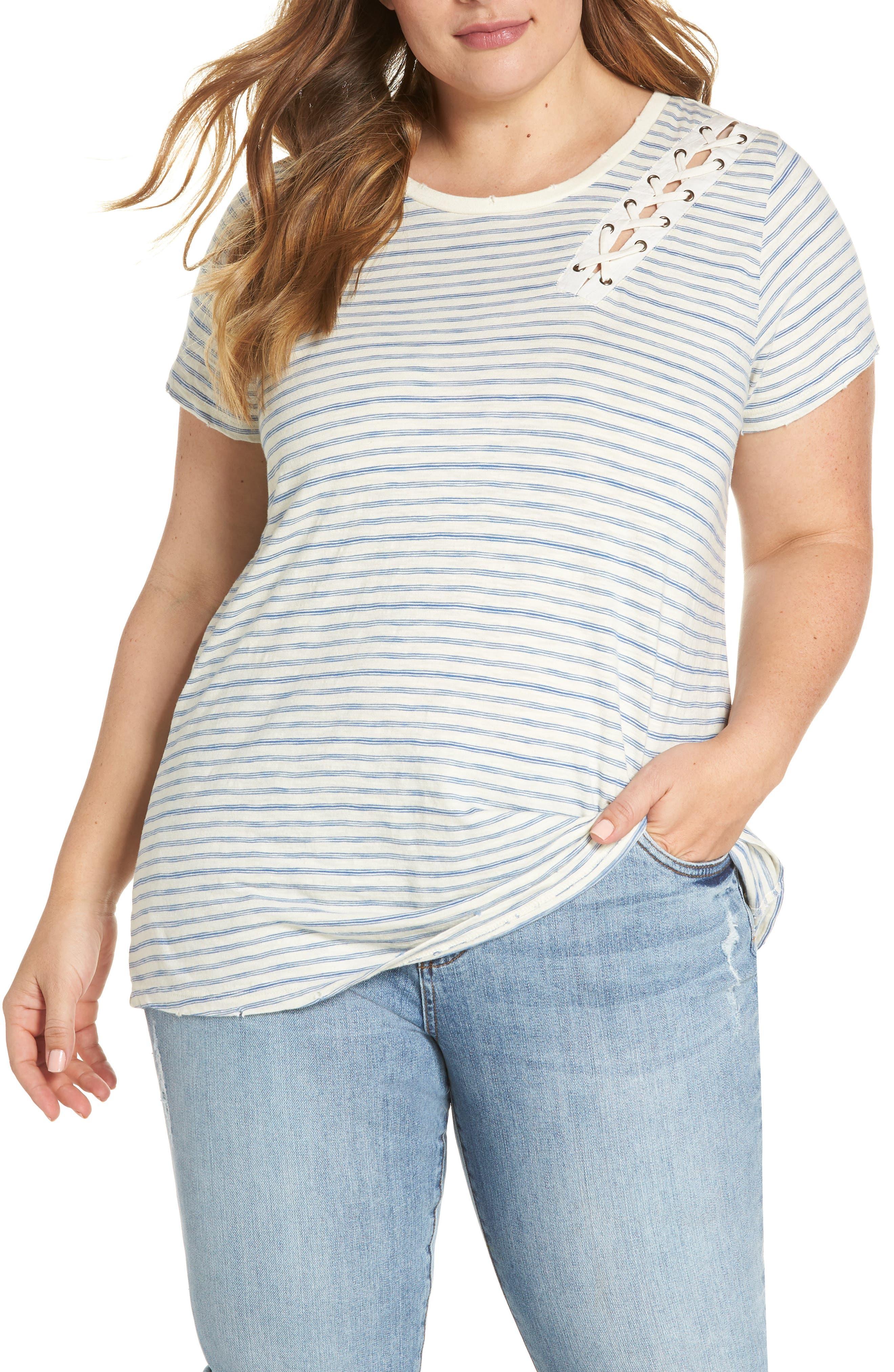 Lace-Up Shoulder Stripe Tee,                         Main,                         color, 460