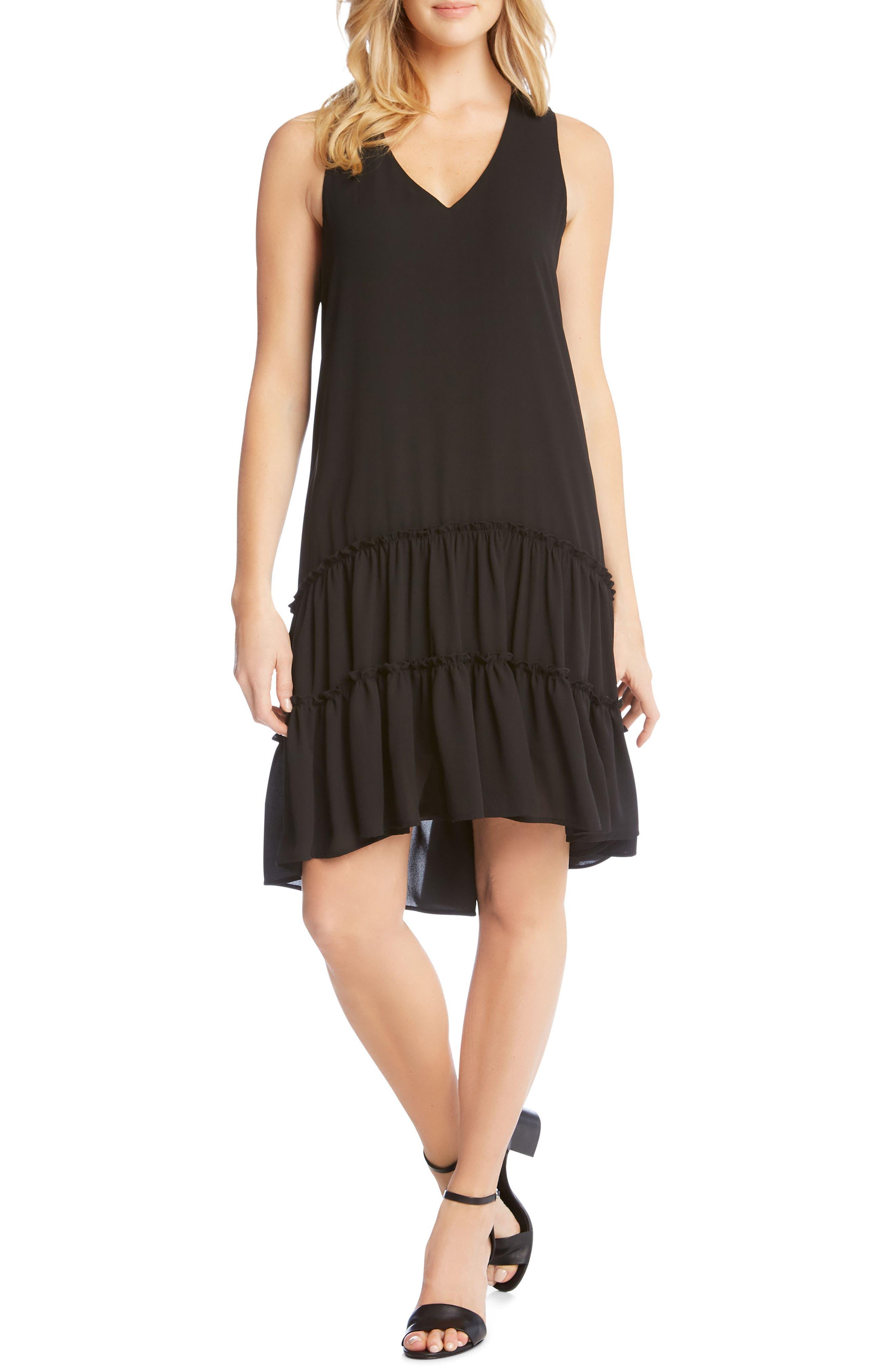 Double Ruffle Hem Crepe Dress,                         Main,                         color, 001