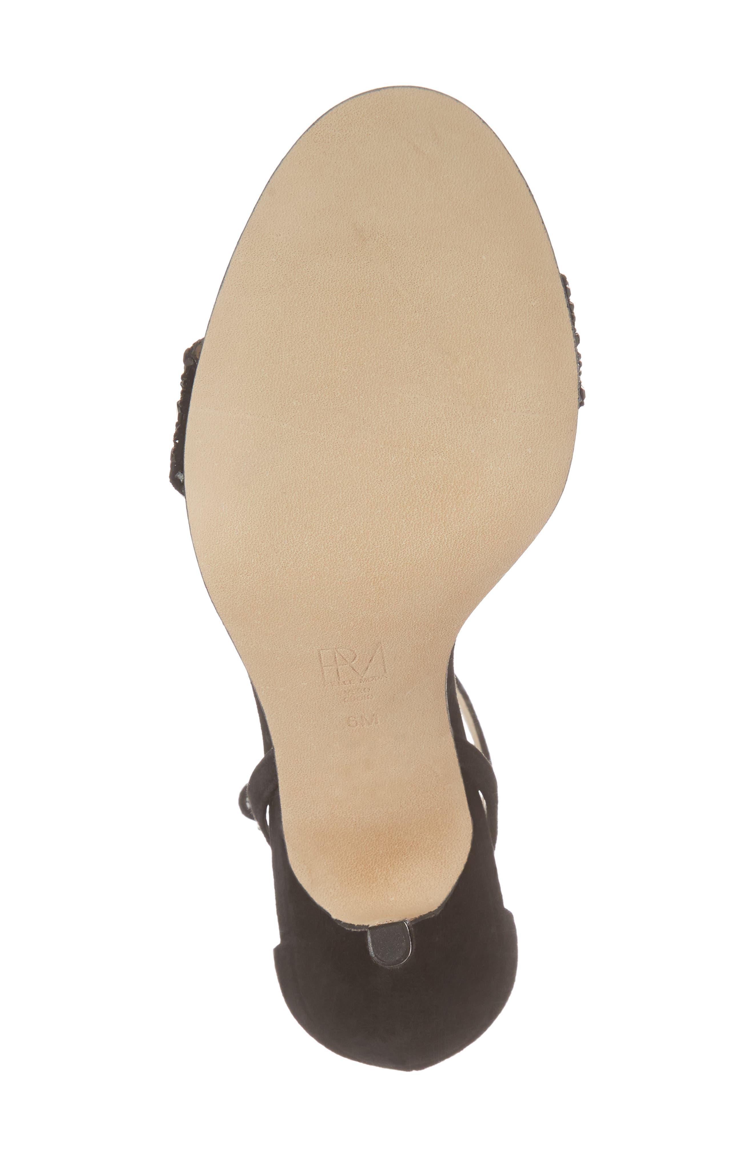Karmina Embellished Sandal,                             Alternate thumbnail 6, color,                             BLACK SUEDE