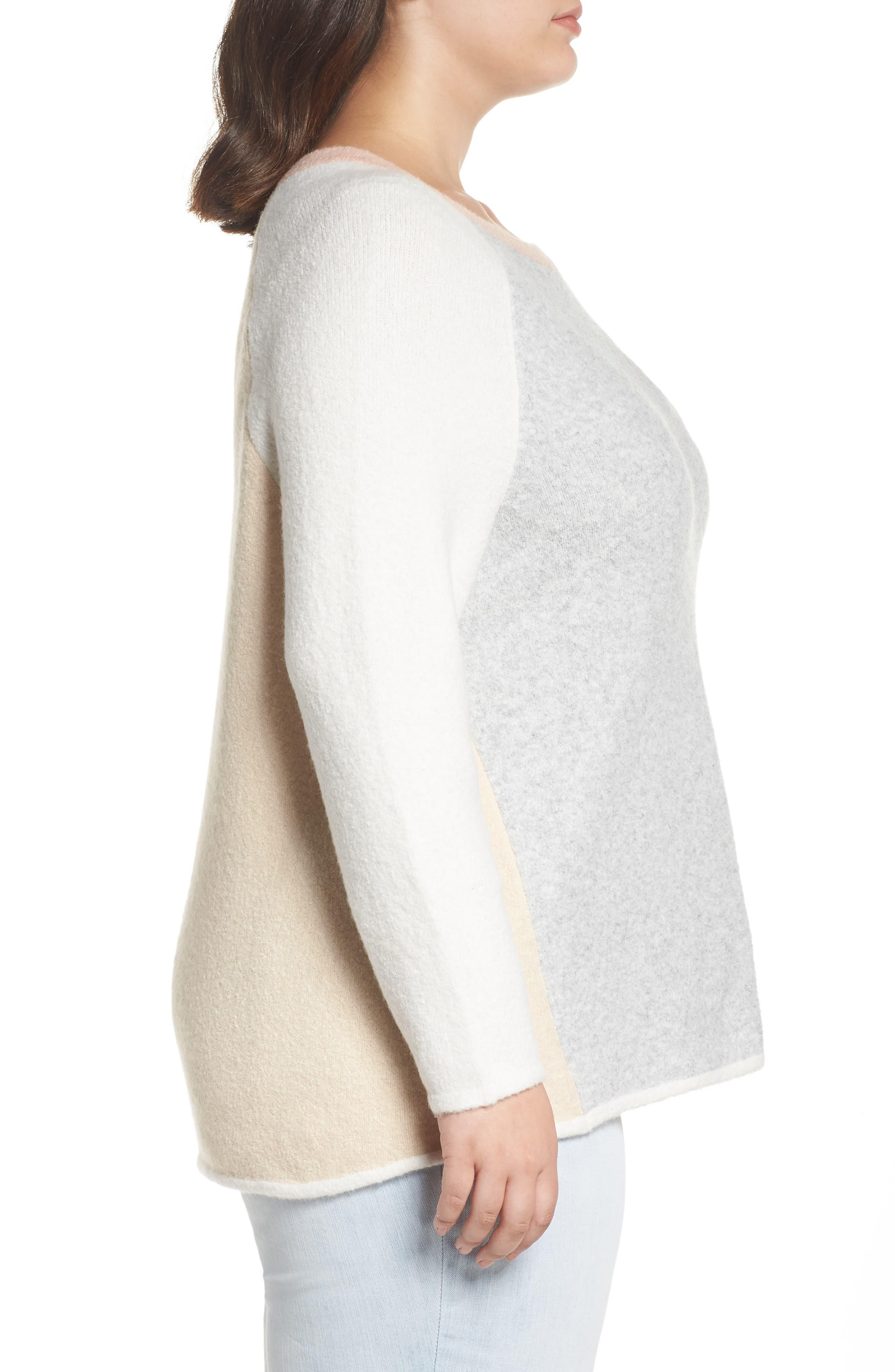 Colorblock Sweater,                             Alternate thumbnail 3, color,                             GREY LT HEATHER CB