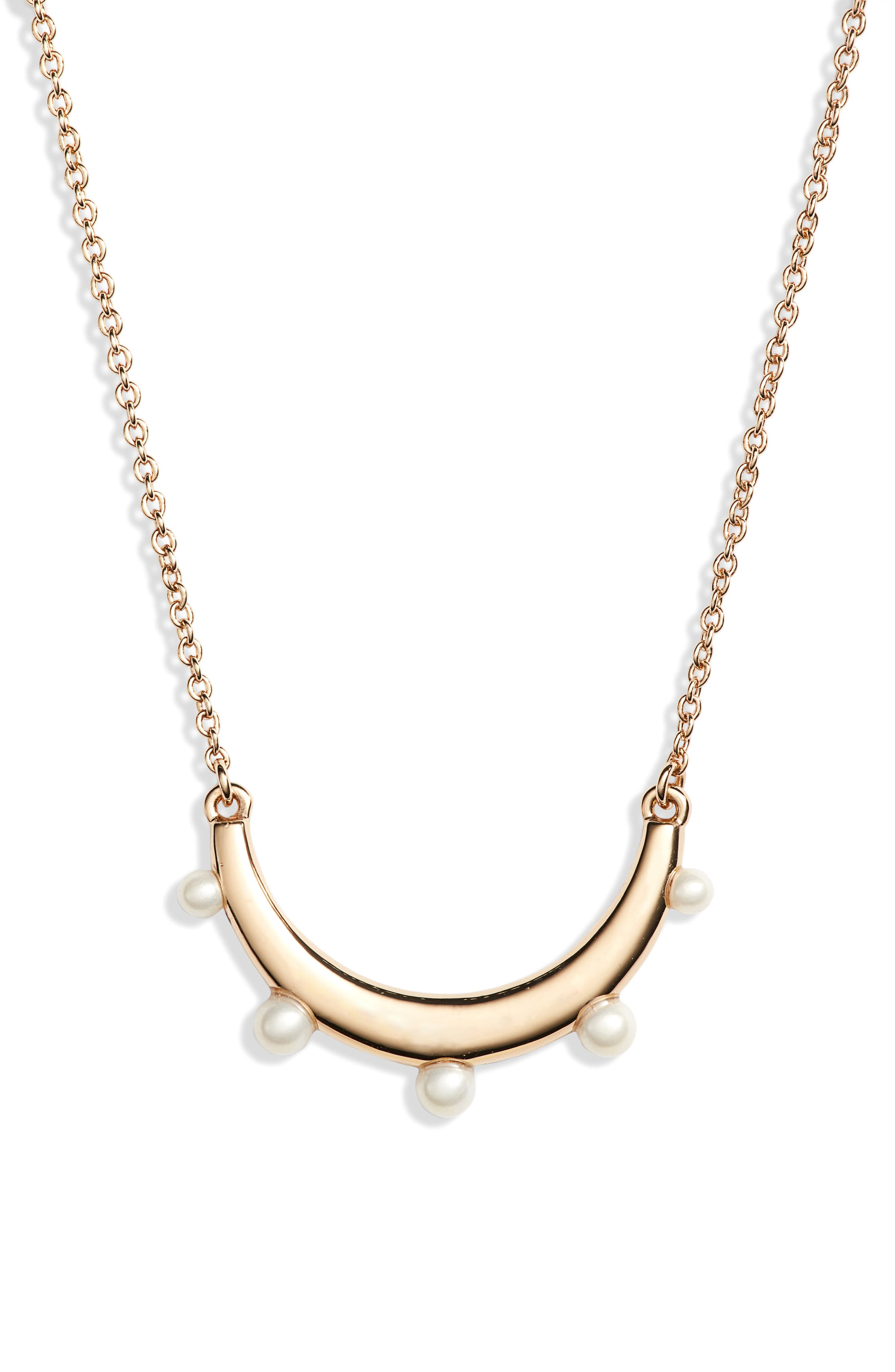 Imitation Pearl Pendant Necklace,                             Main thumbnail 1, color,                             GOLD/ PEARL