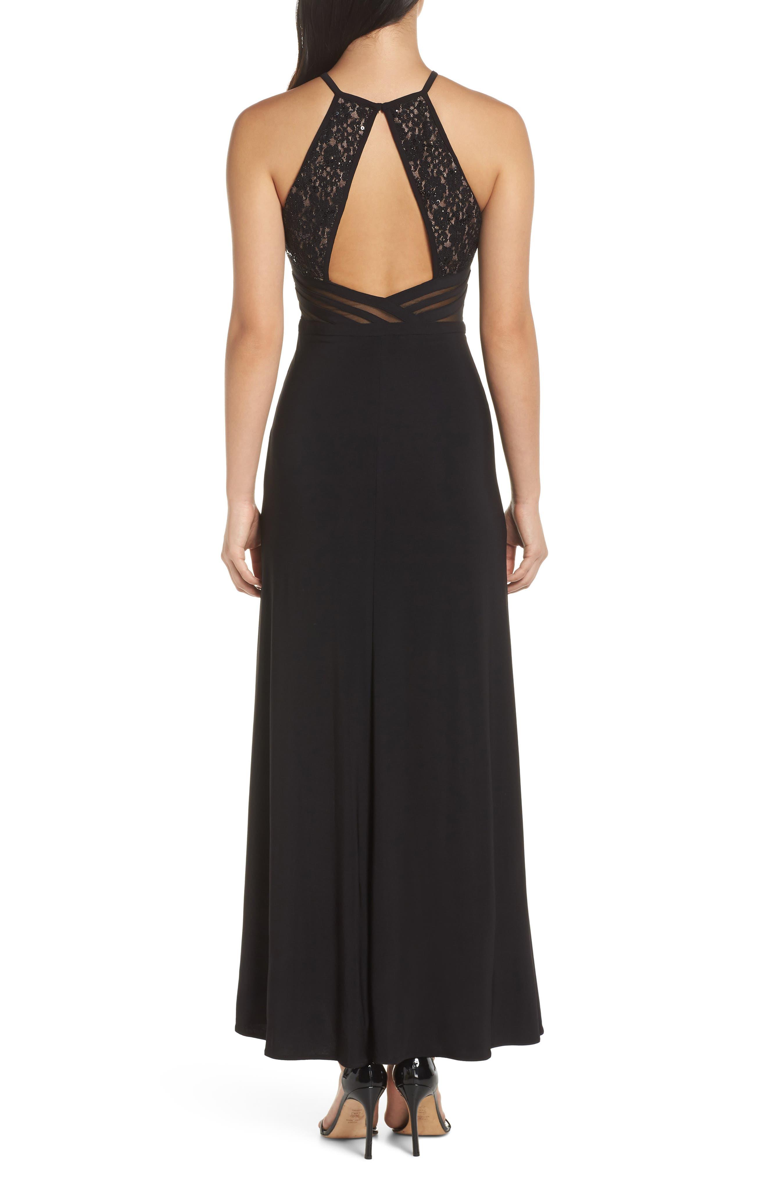 MORGAN & CO.,                             Lace & Illusion Mesh Bodice Gown,                             Alternate thumbnail 2, color,                             BLACK/ NUDE