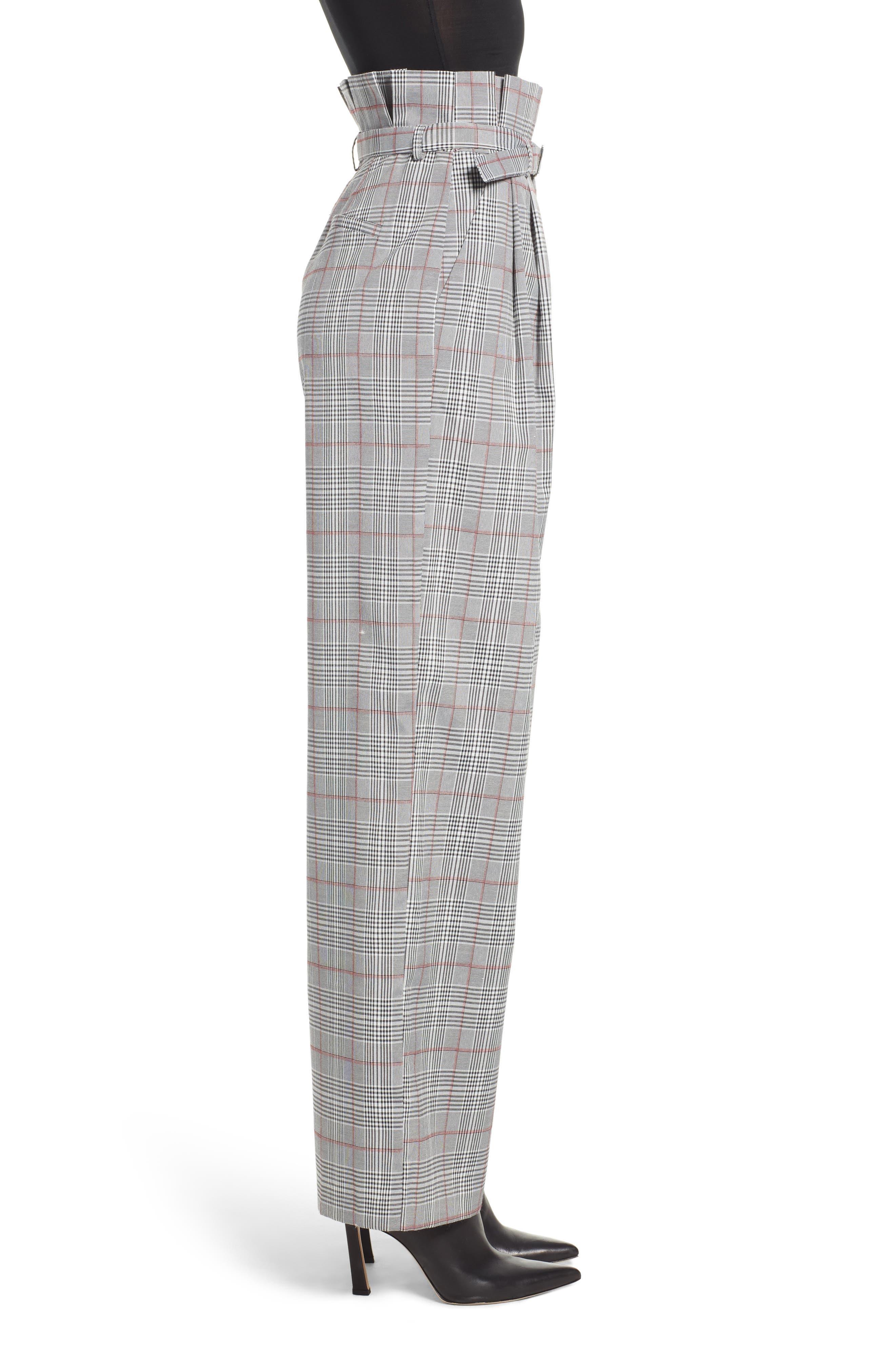 ENGLISH FACTORY,                             High Waist Plaid Pants,                             Alternate thumbnail 3, color,                             020