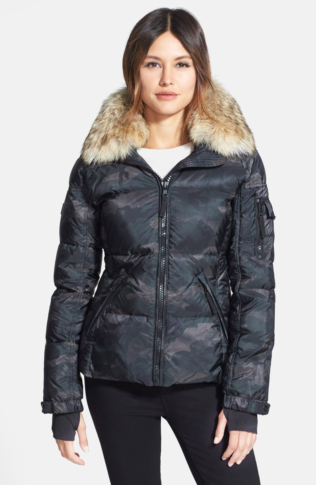 SAM. 'Freestyle' Camo Goose Down Jacket with Genuine Coyote Fur Collar, Main, color, 300
