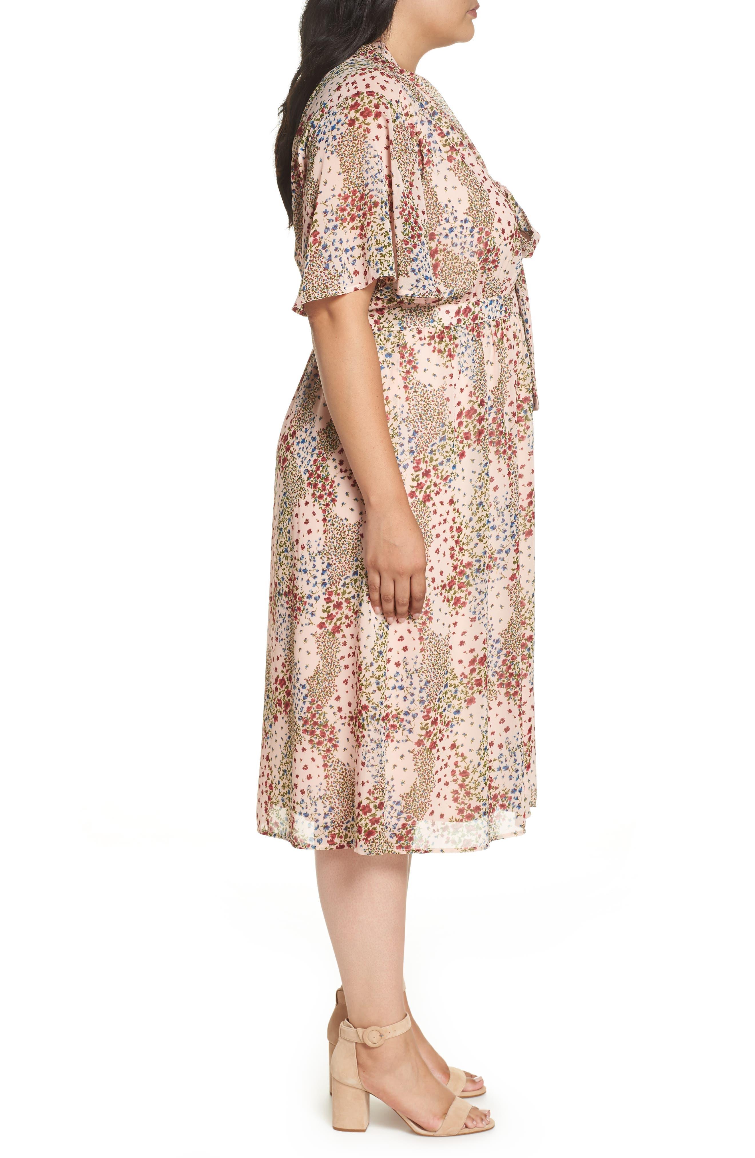 Tie Neck Floral Dress,                             Alternate thumbnail 3, color,                             958