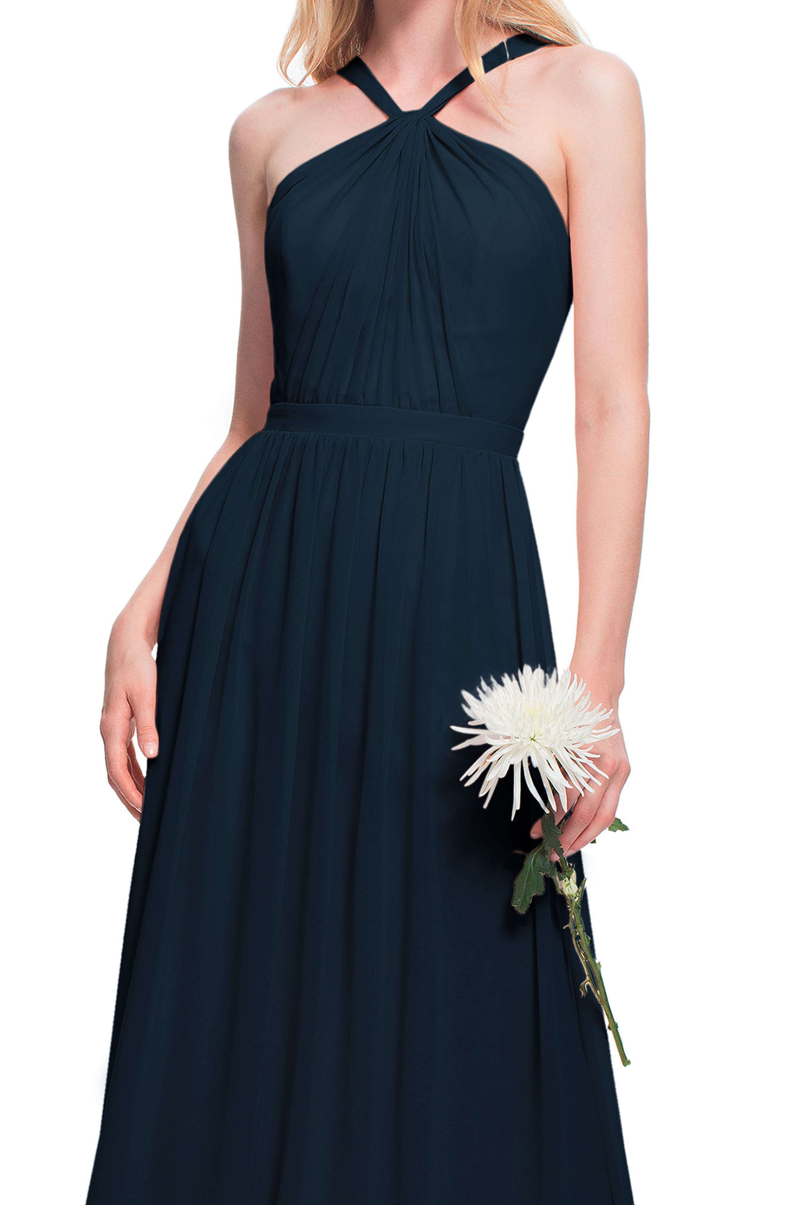 Halter Neck Chiffon Gown,                             Alternate thumbnail 3, color,                             NAVY