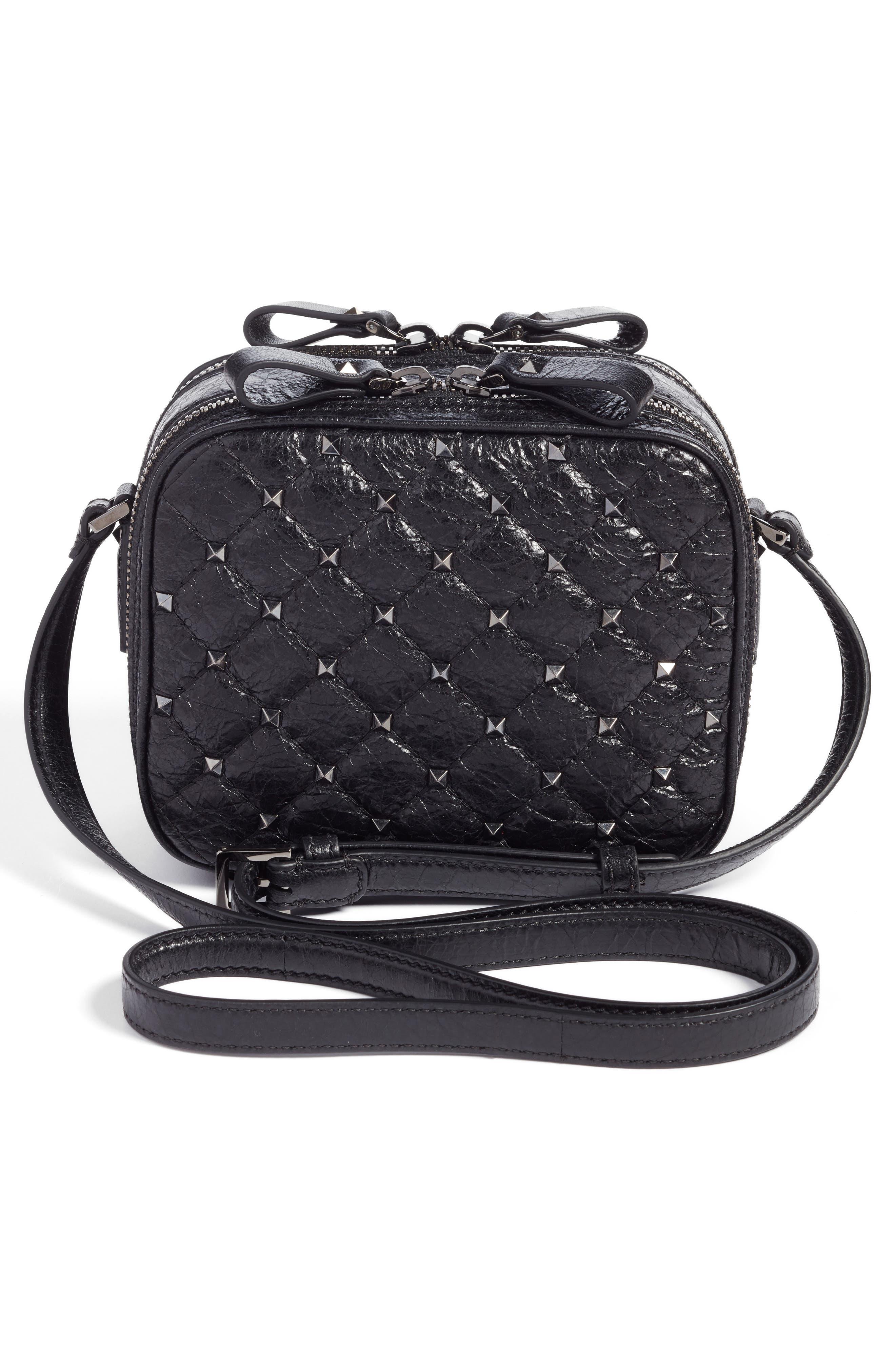 Rockstud Leather Camera Crossbody Bag,                             Alternate thumbnail 3, color,                             001