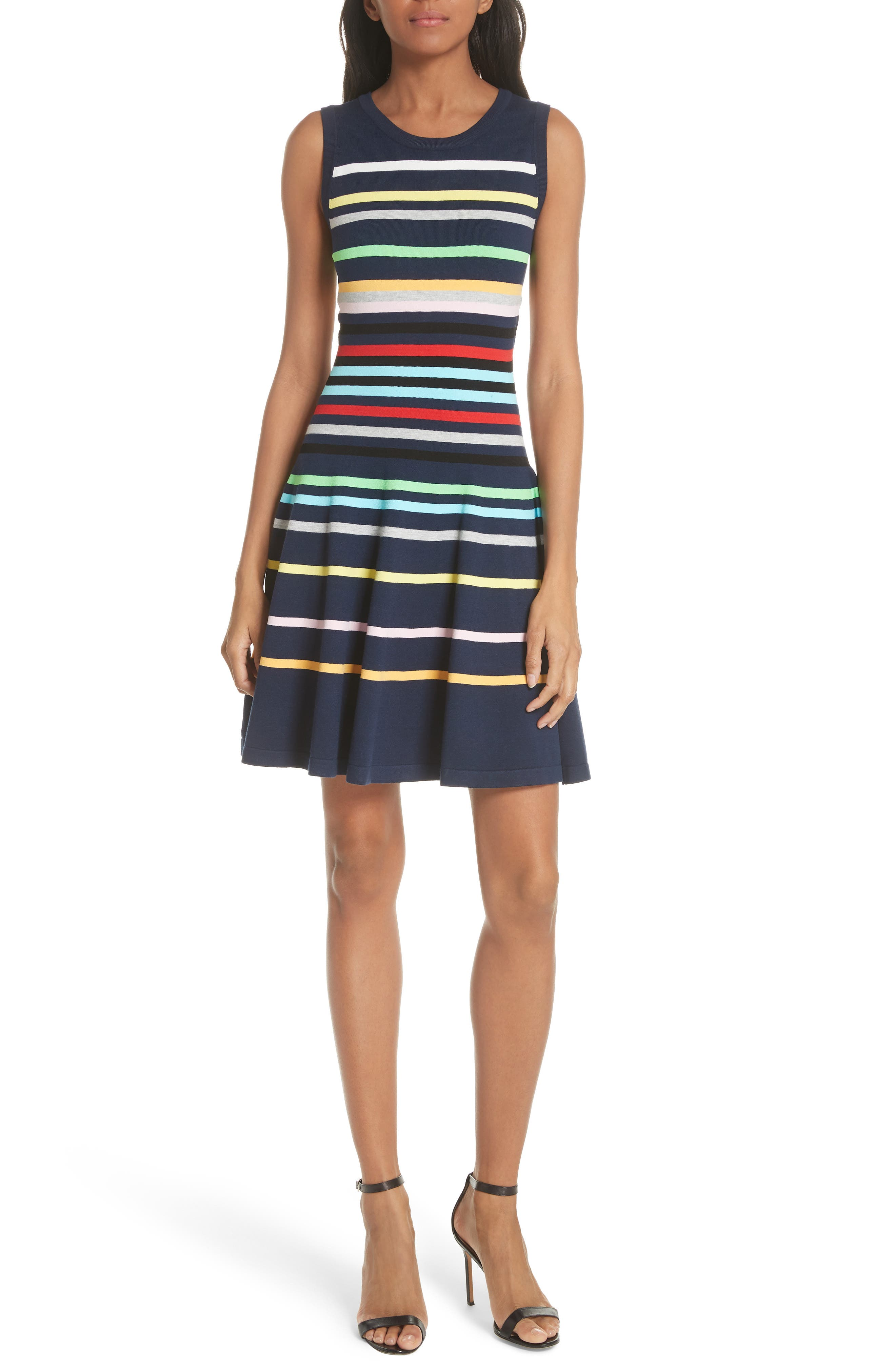 Rainbow Stripe Fit & Flare Dress,                             Main thumbnail 1, color,                             405
