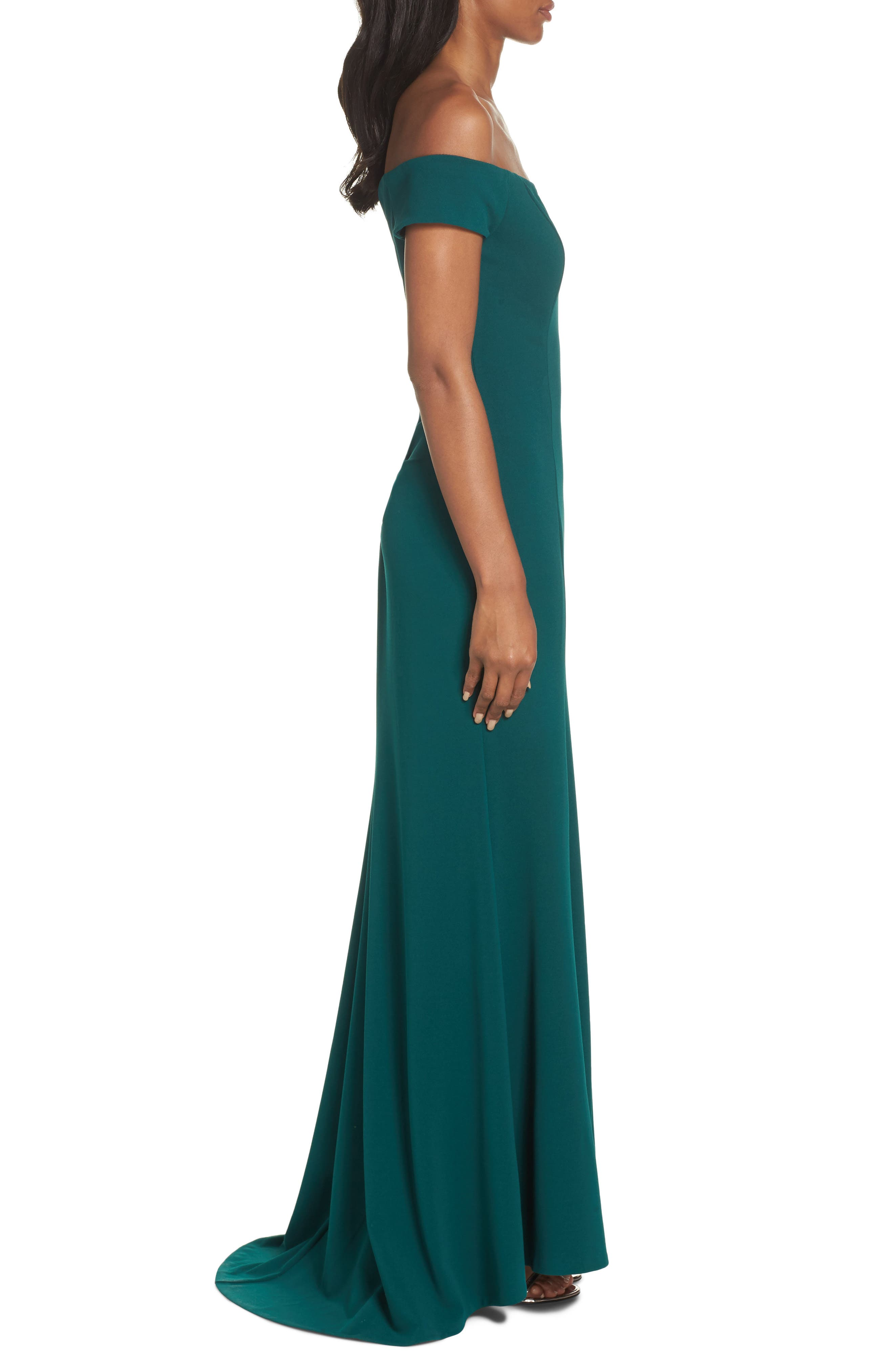 Notched Off the Shoulder Trumpet Gown,                             Alternate thumbnail 3, color,                             EMERALD