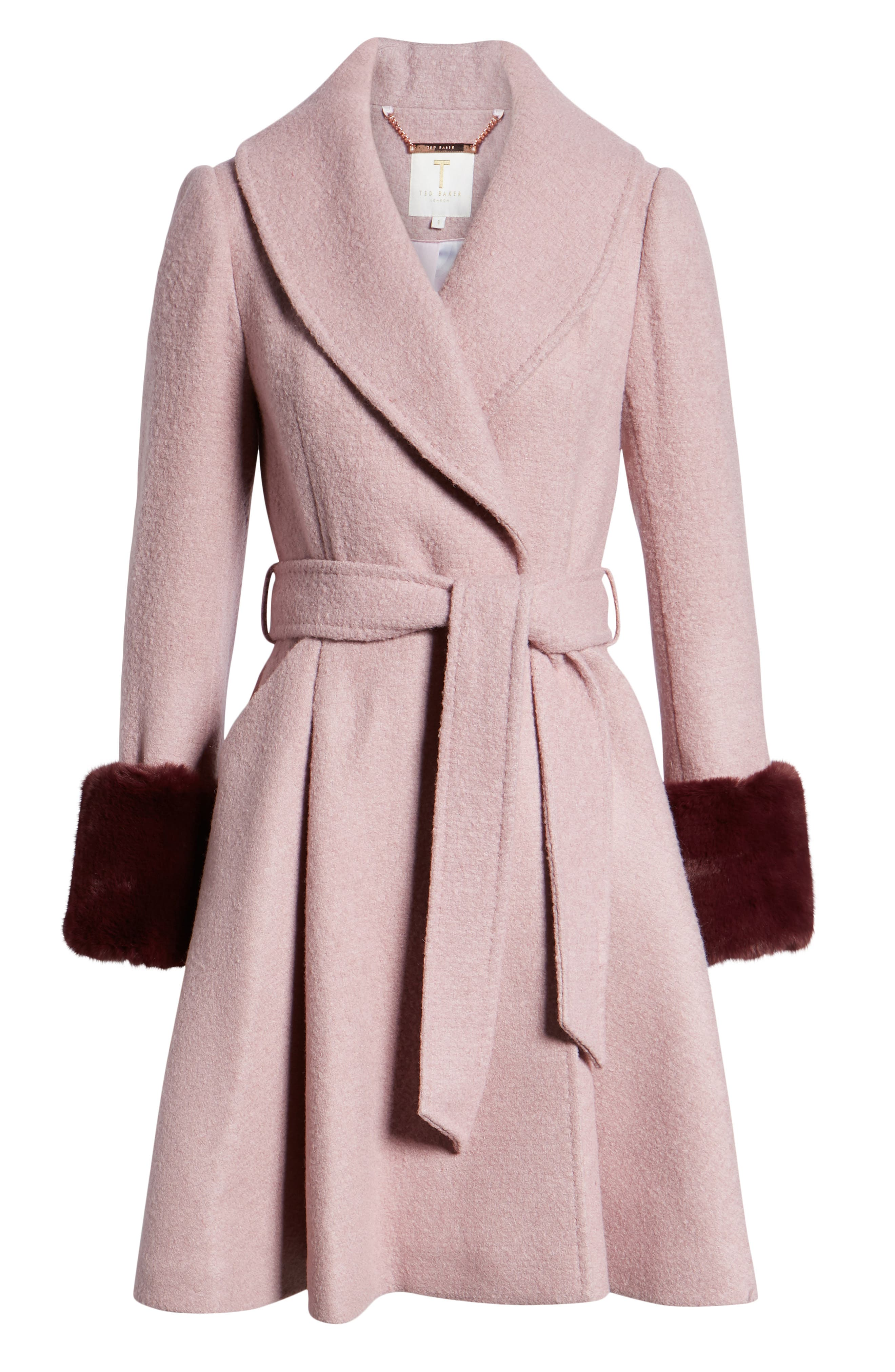 Faux Fur Cuff Skirted Coat,                             Alternate thumbnail 6, color,                             MID PINK