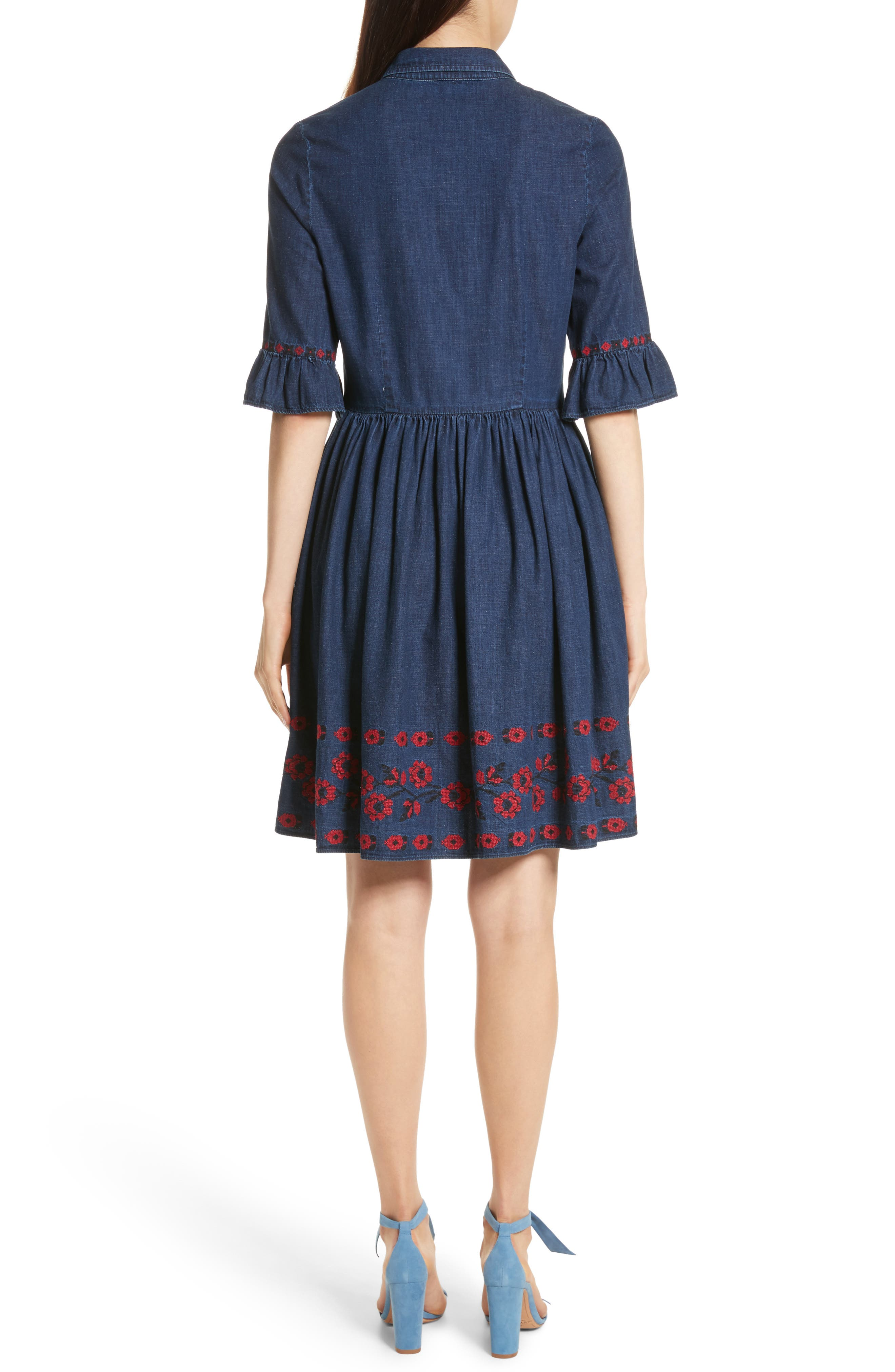 embroidered chambray shirtdress,                             Alternate thumbnail 2, color,                             429