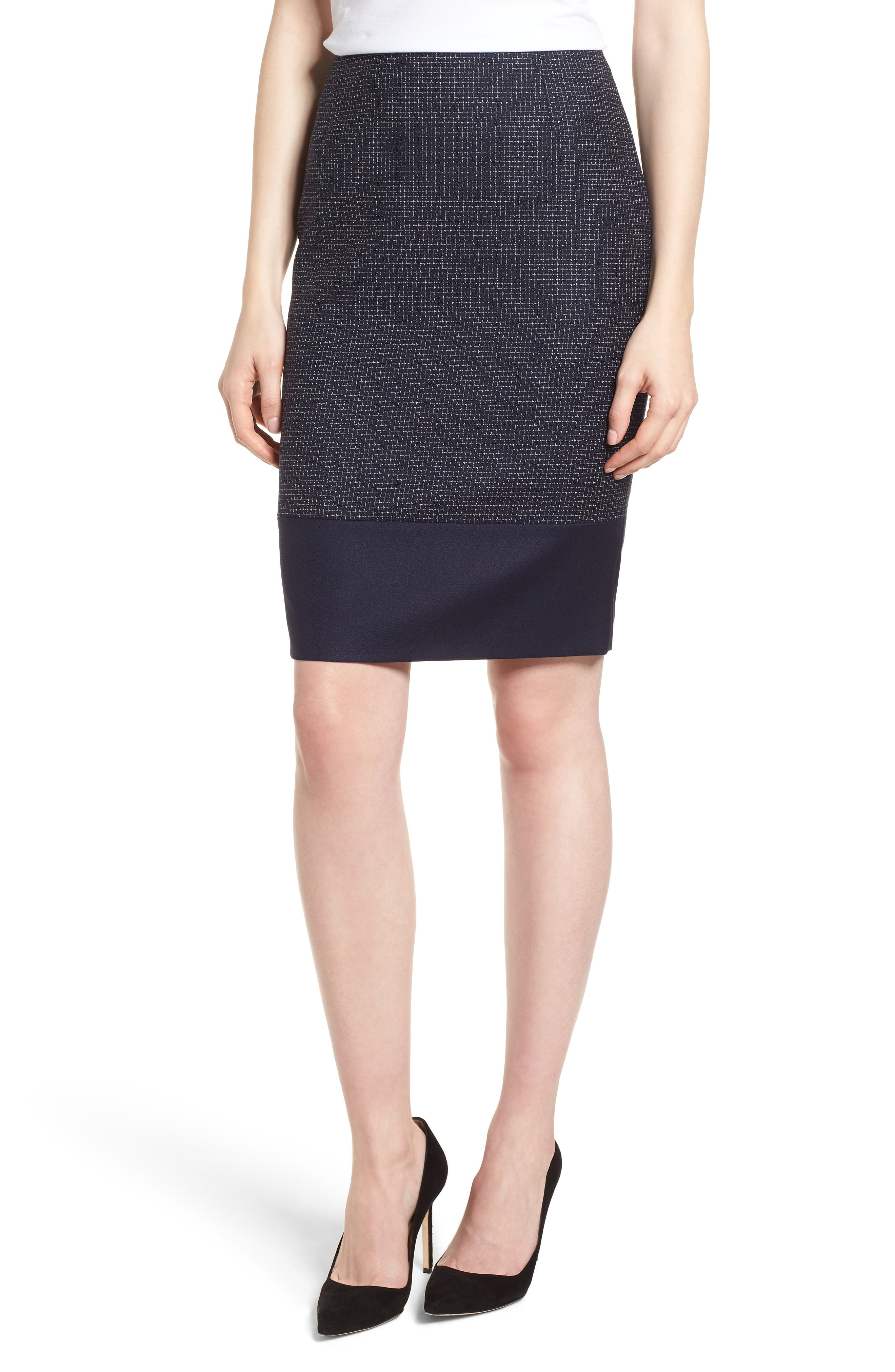 BOSS,                             Vibena Windowpane Skirt,                             Main thumbnail 1, color,                             170