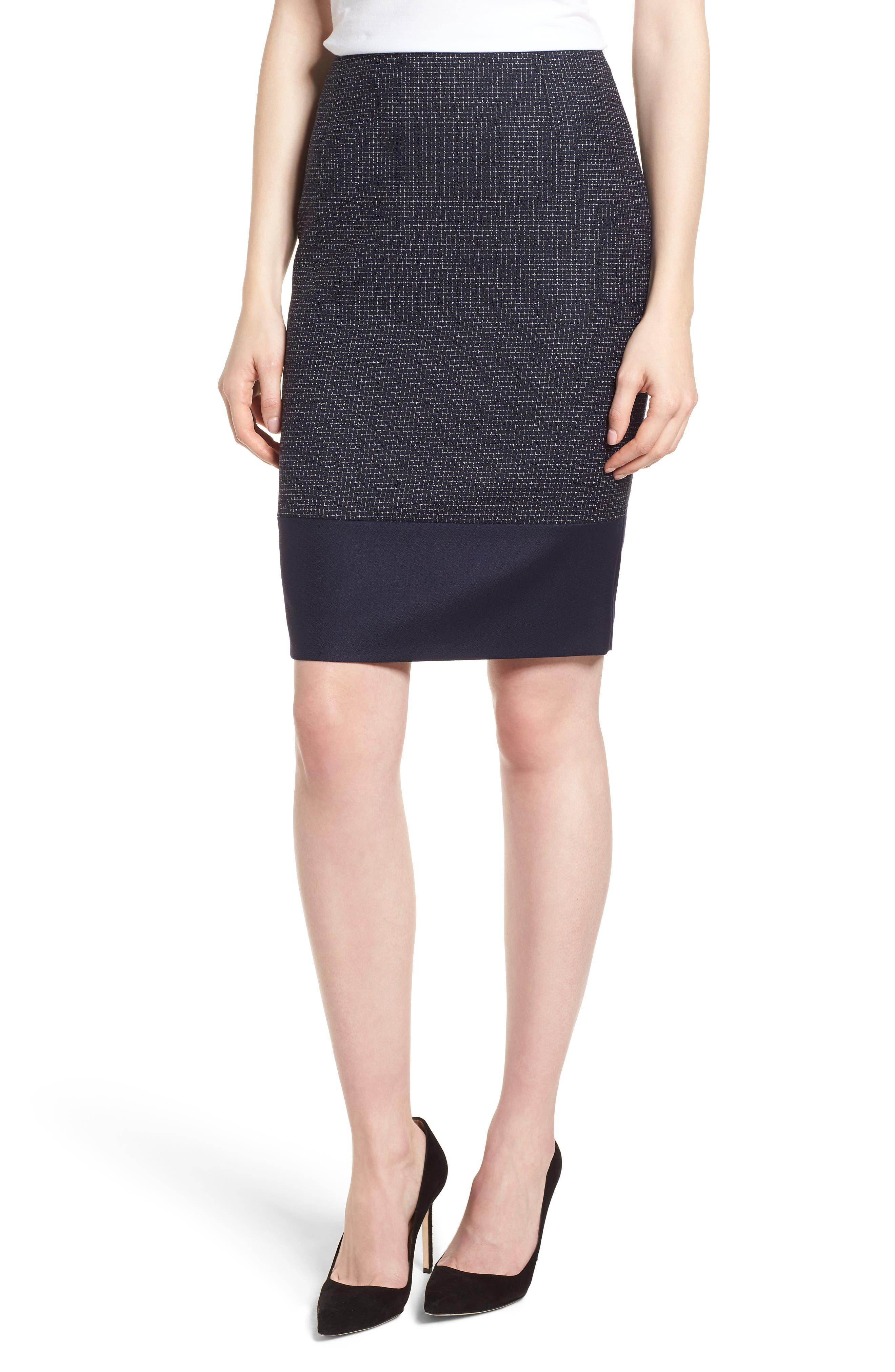 BOSS Vibena Windowpane Skirt, Main, color, 170