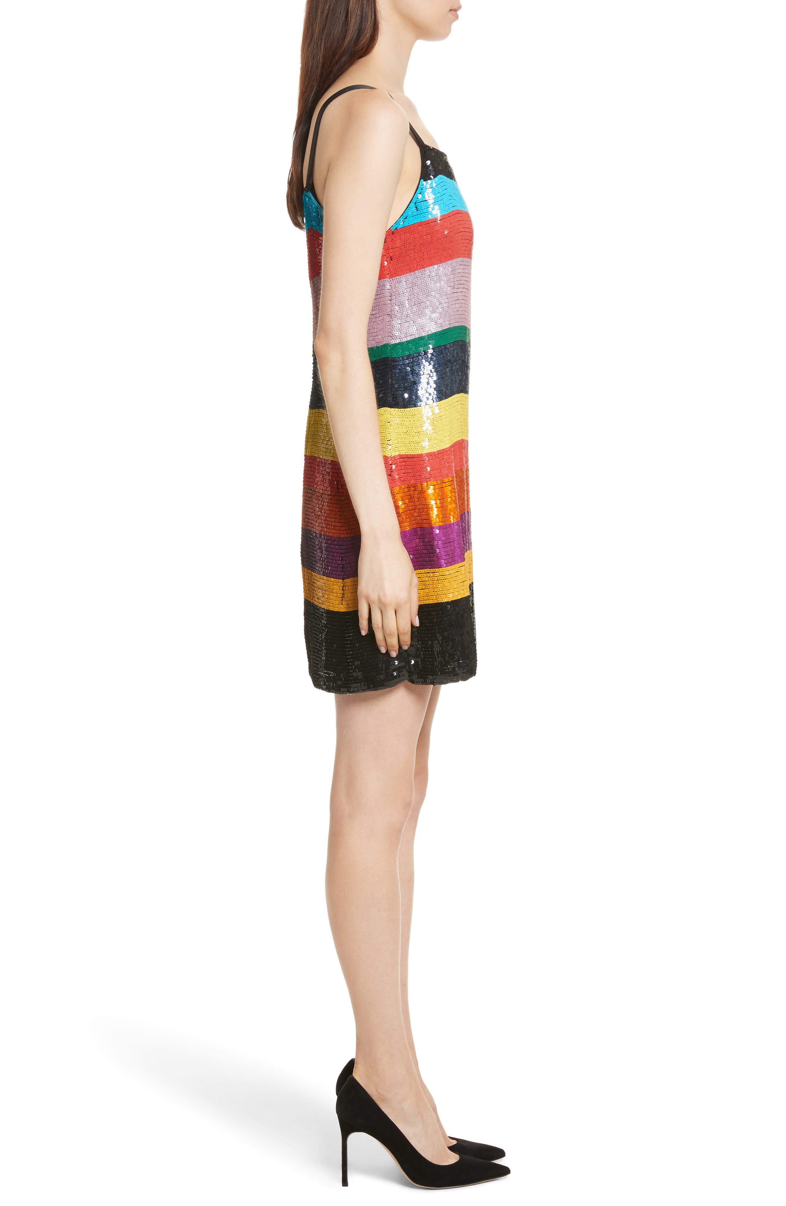 Bridget Striped Sequin Slipdress,                             Alternate thumbnail 3, color,                             006