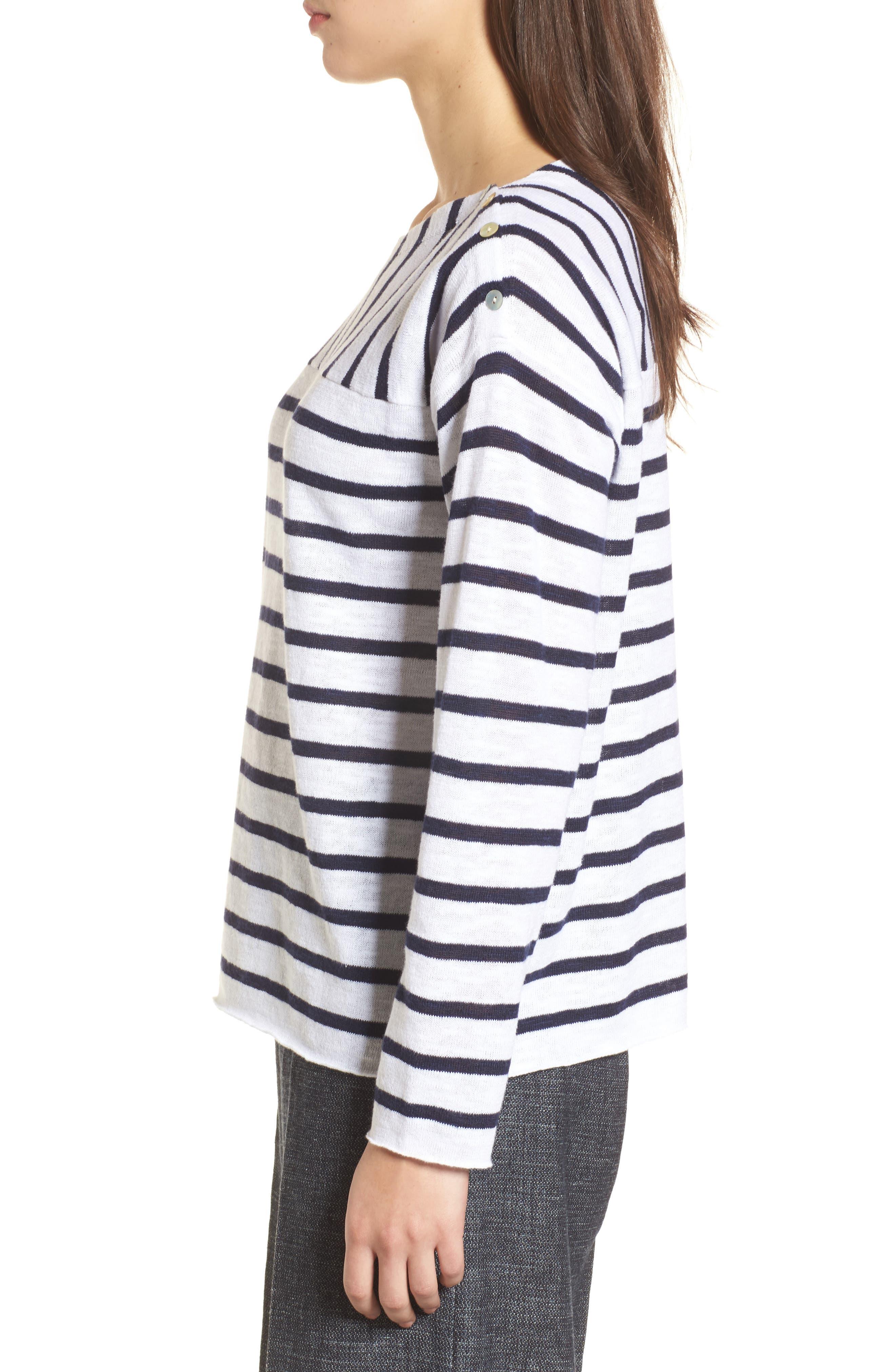 Stripe Organic Linen & Cotton Sweater,                             Alternate thumbnail 3, color,                             143