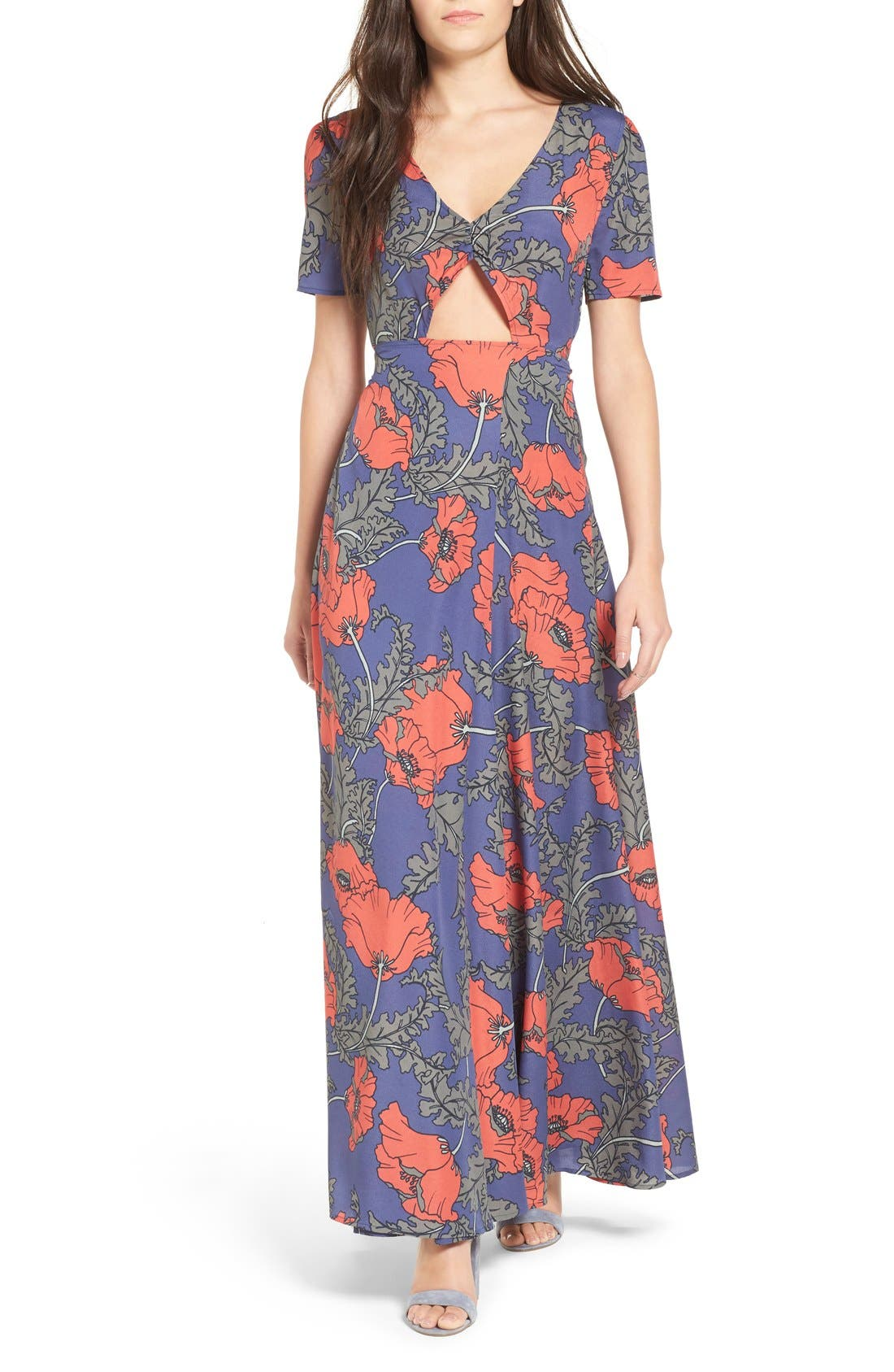 'Desi' Floral Print Maxi Dress,                             Main thumbnail 1, color,                             400