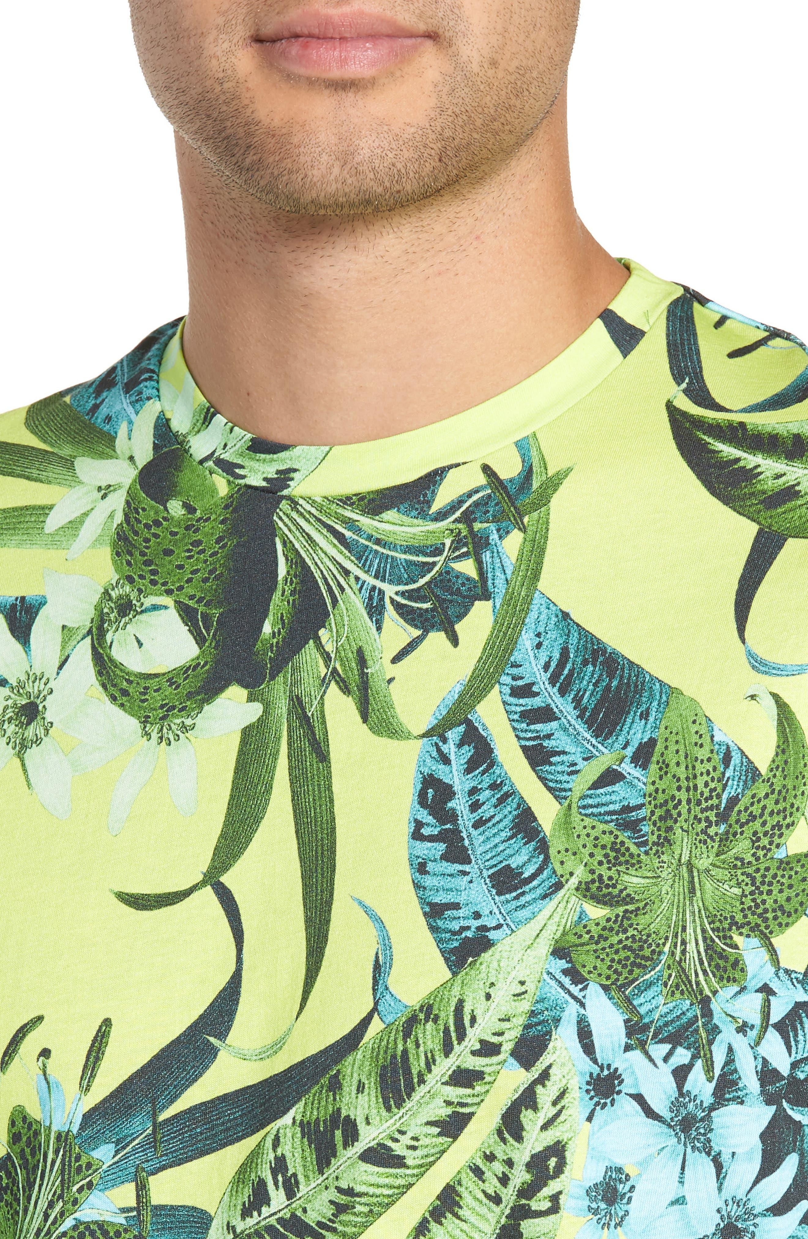 Classic Floral Shirt,                             Alternate thumbnail 4, color,                             GREEN