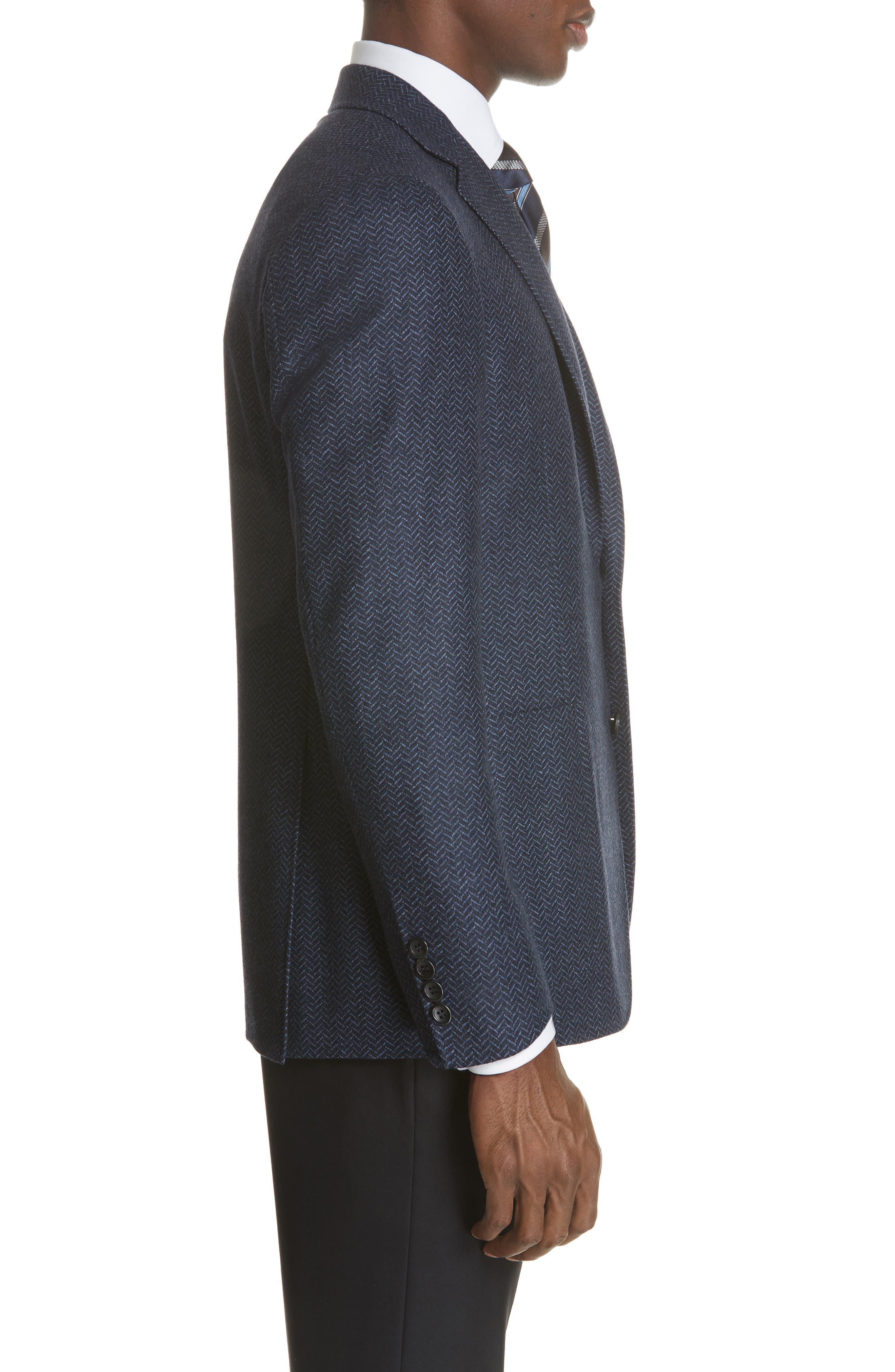 Classic Fit Herringbone Wool Sport Coat,                             Alternate thumbnail 3, color,                             DARK BLUE
