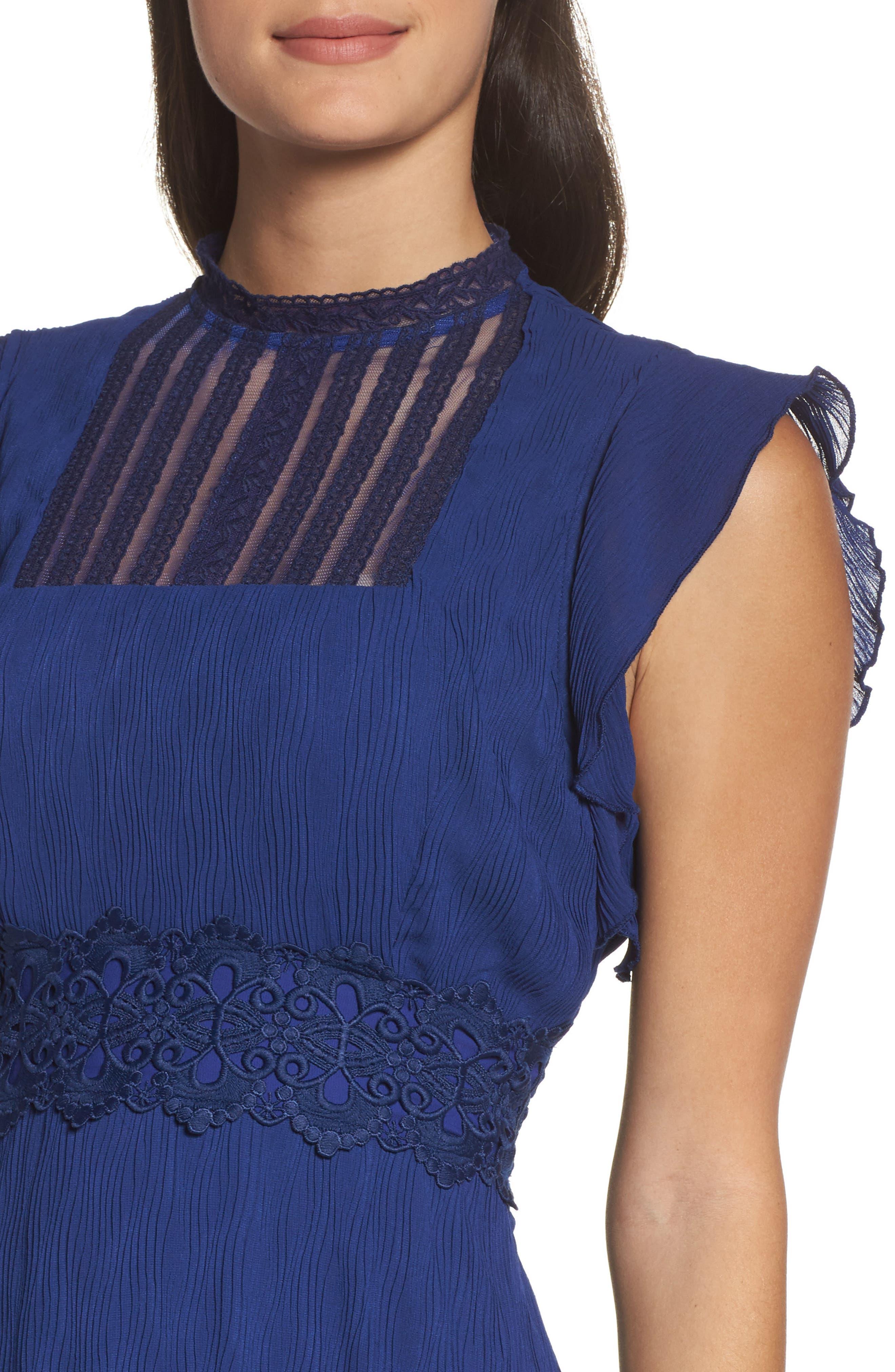Isadora Lace Trim Pintuck Midi Dress,                             Alternate thumbnail 4, color,