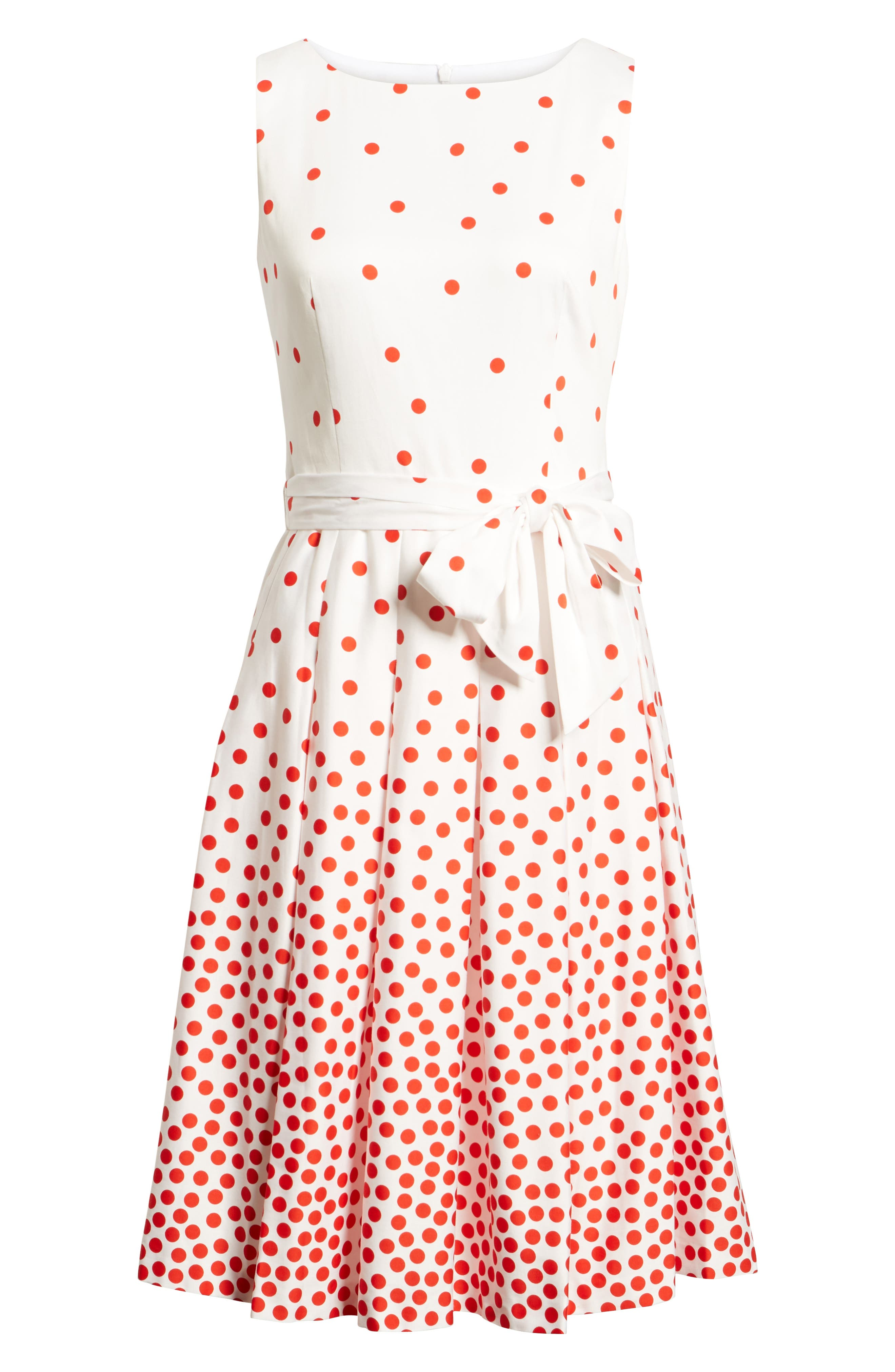 Scattered Dot Stretch Cotton Dress,                             Alternate thumbnail 6, color,                             100