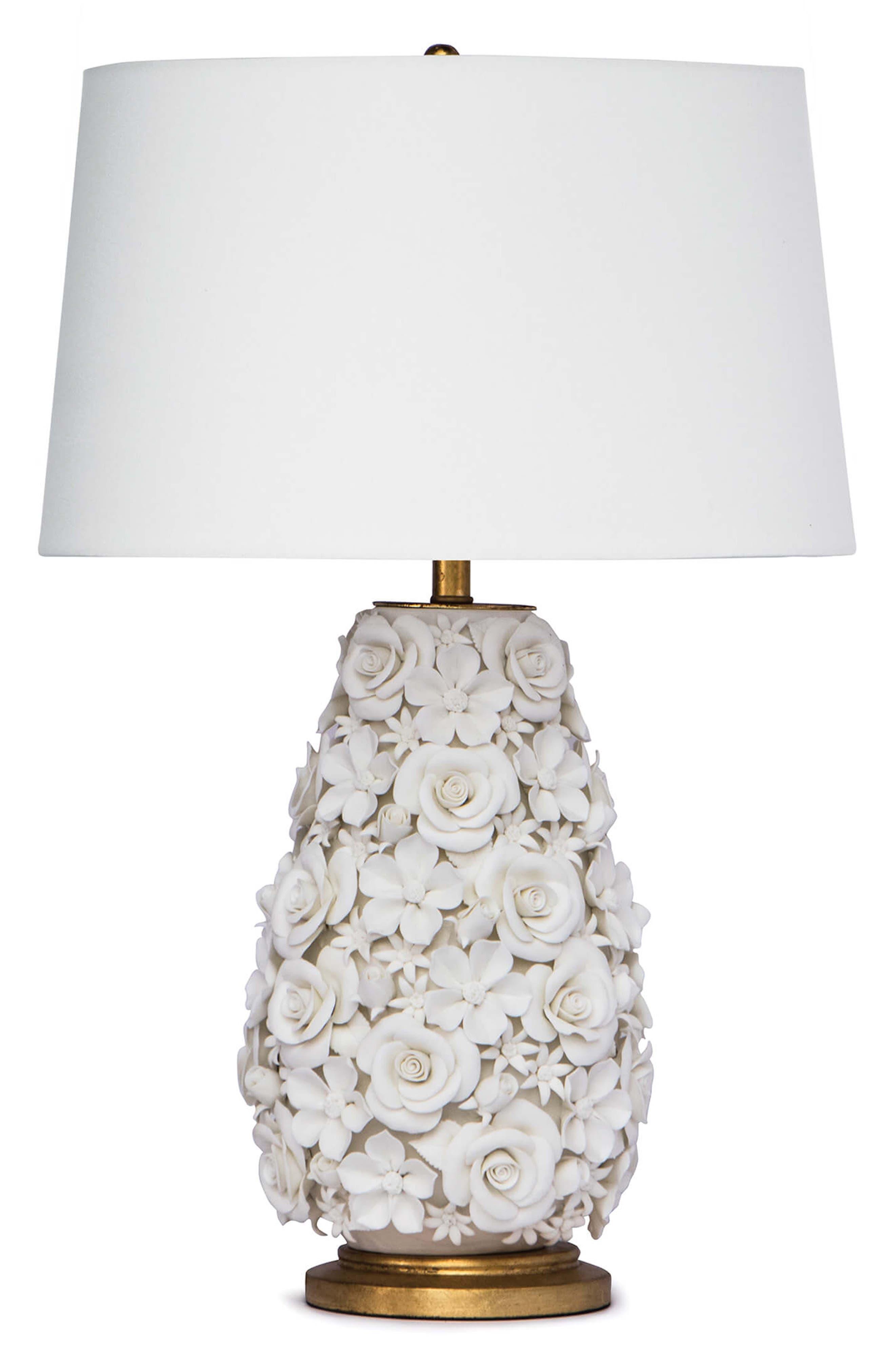 REGINA ANDREW Alice Porcelain Flower Table Lamp, Main, color, WHITE
