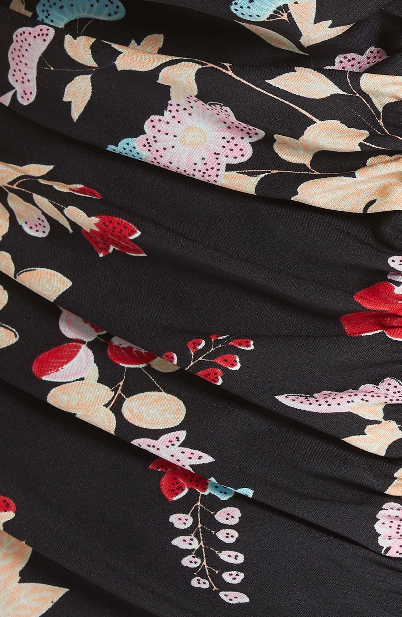 Diane von Furstenberg Sleeveless Ruched Floral Stretch Silk Bodysuit,                             Alternate thumbnail 5, color,                             004