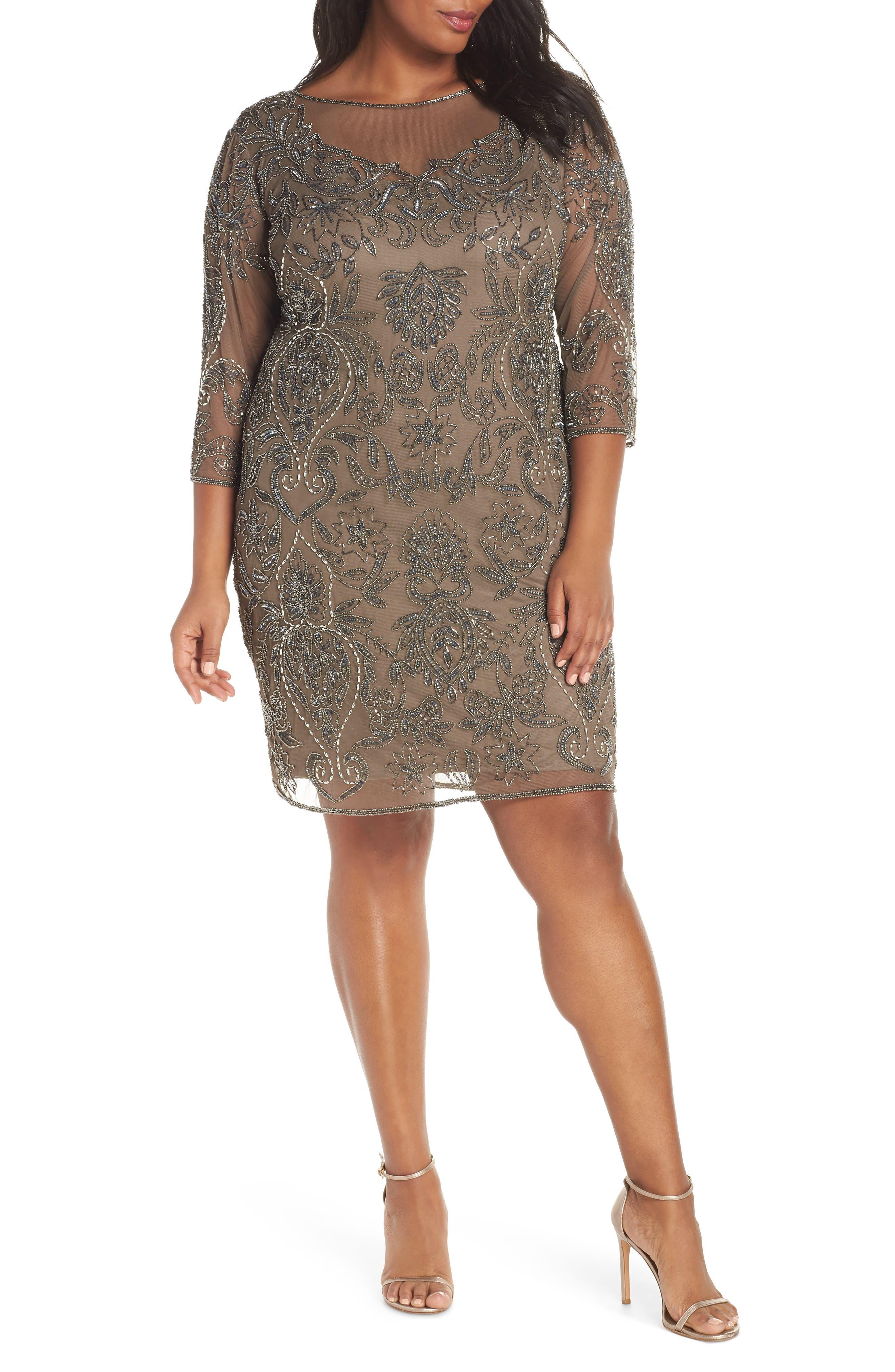 Plus Size Pisarro Nights Embellished Mesh Sheath Dress, Brown
