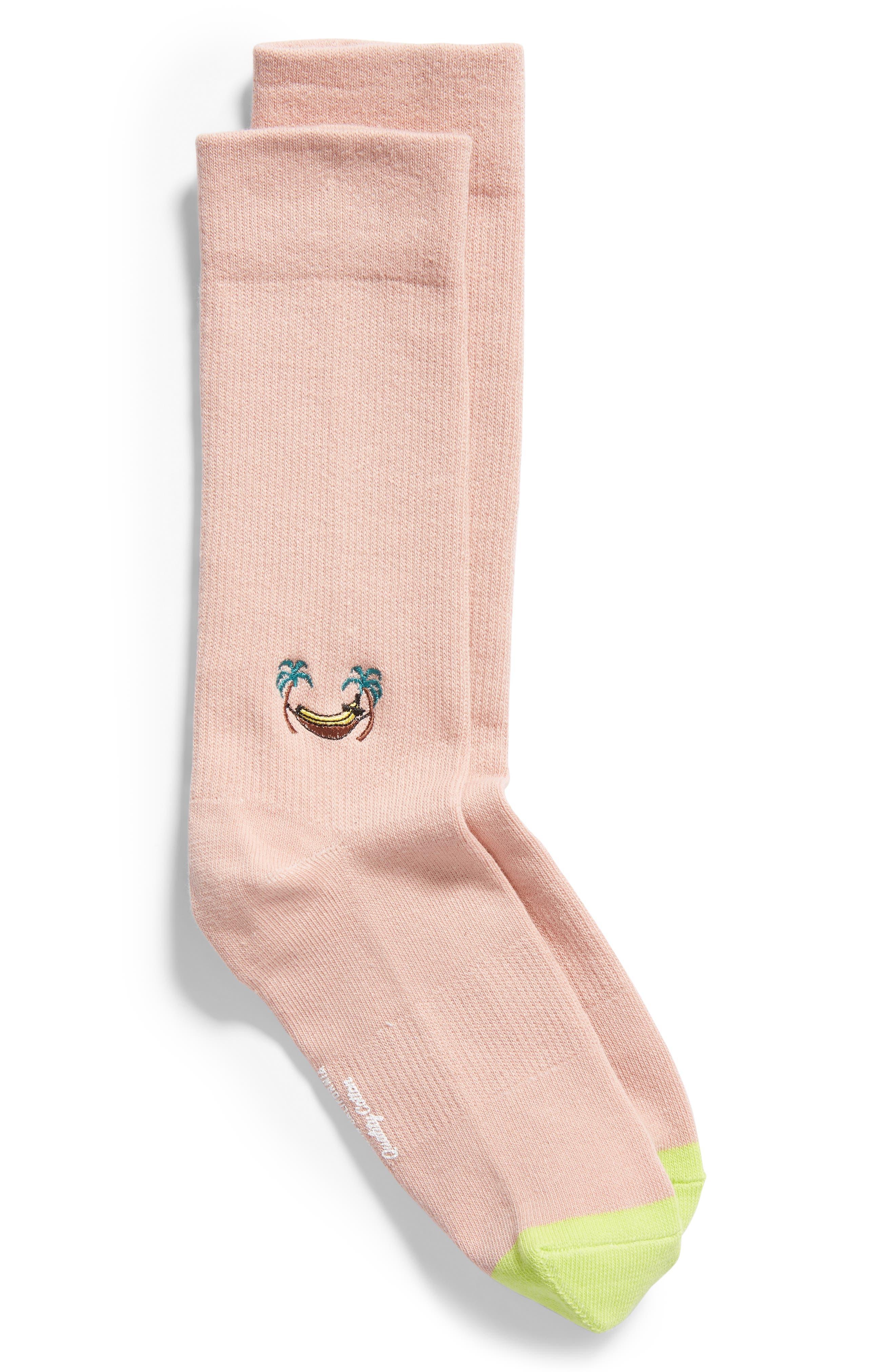 Banana Everyday Crew Socks,                             Main thumbnail 1, color,                             PINK