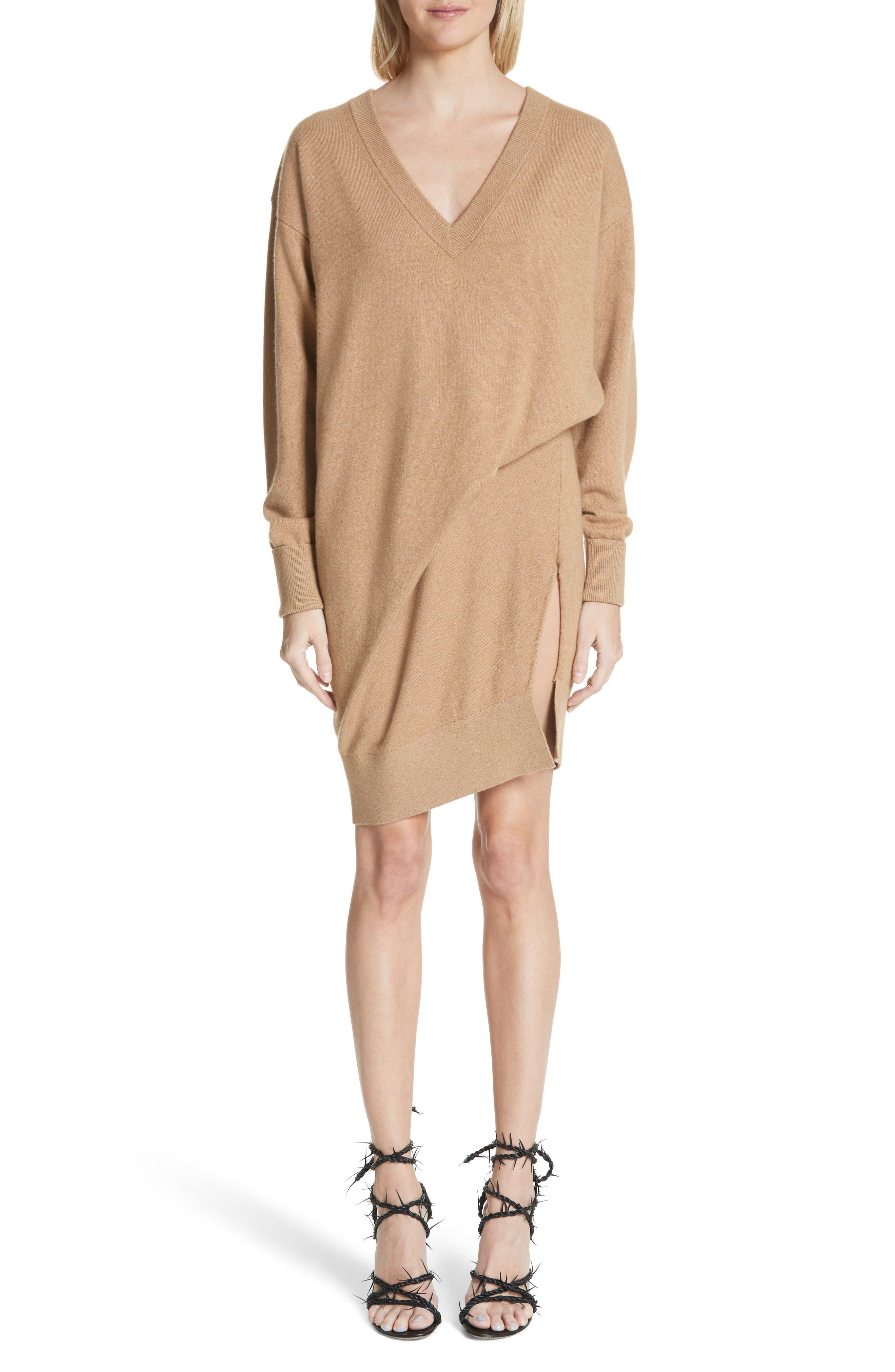 Asymmetrical Wool & Cashmere Blend Sweater Dress,                             Main thumbnail 1, color,                             204