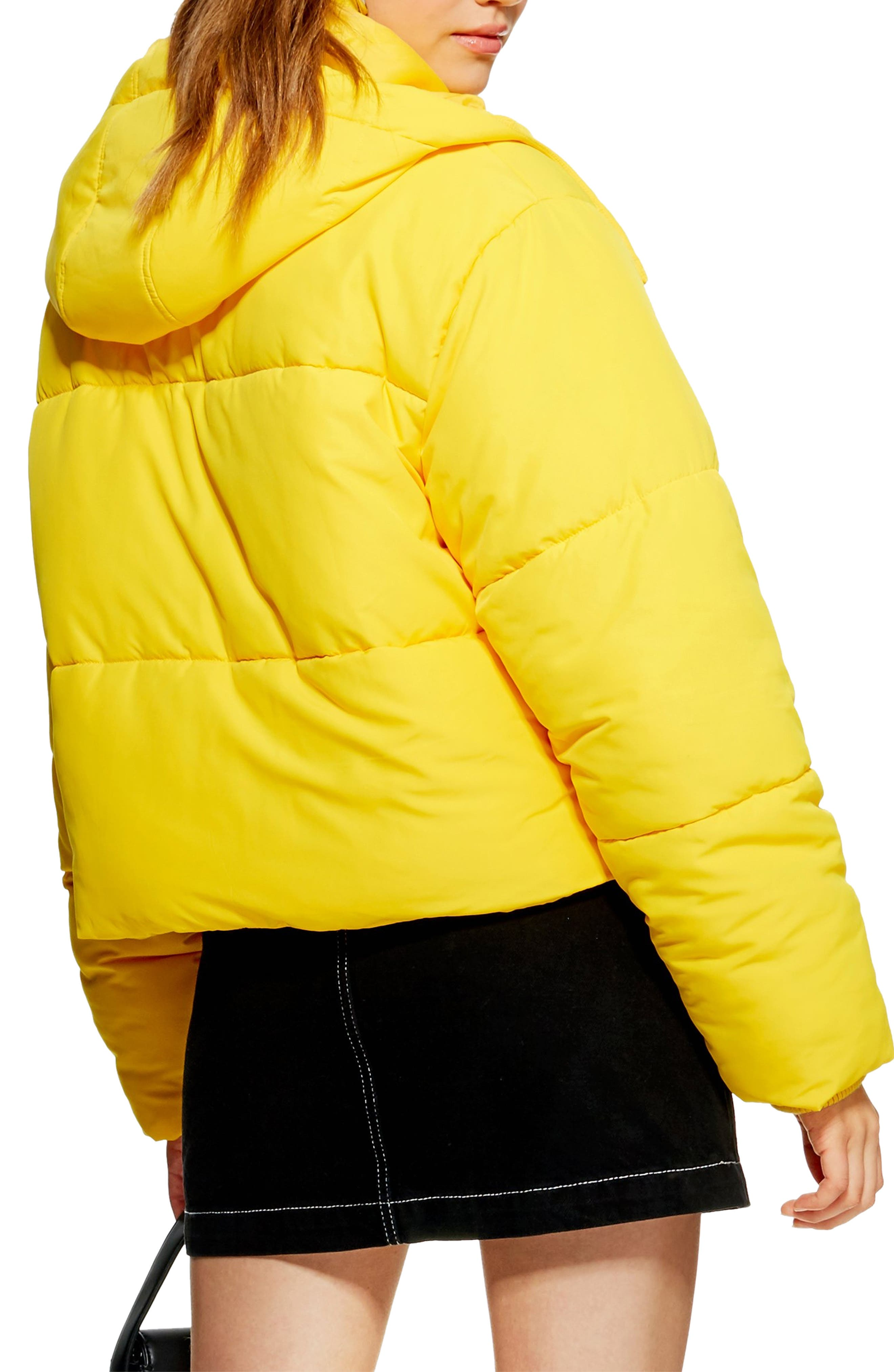 Hooded Puffer Jacket,                             Alternate thumbnail 2, color,                             YELLOW