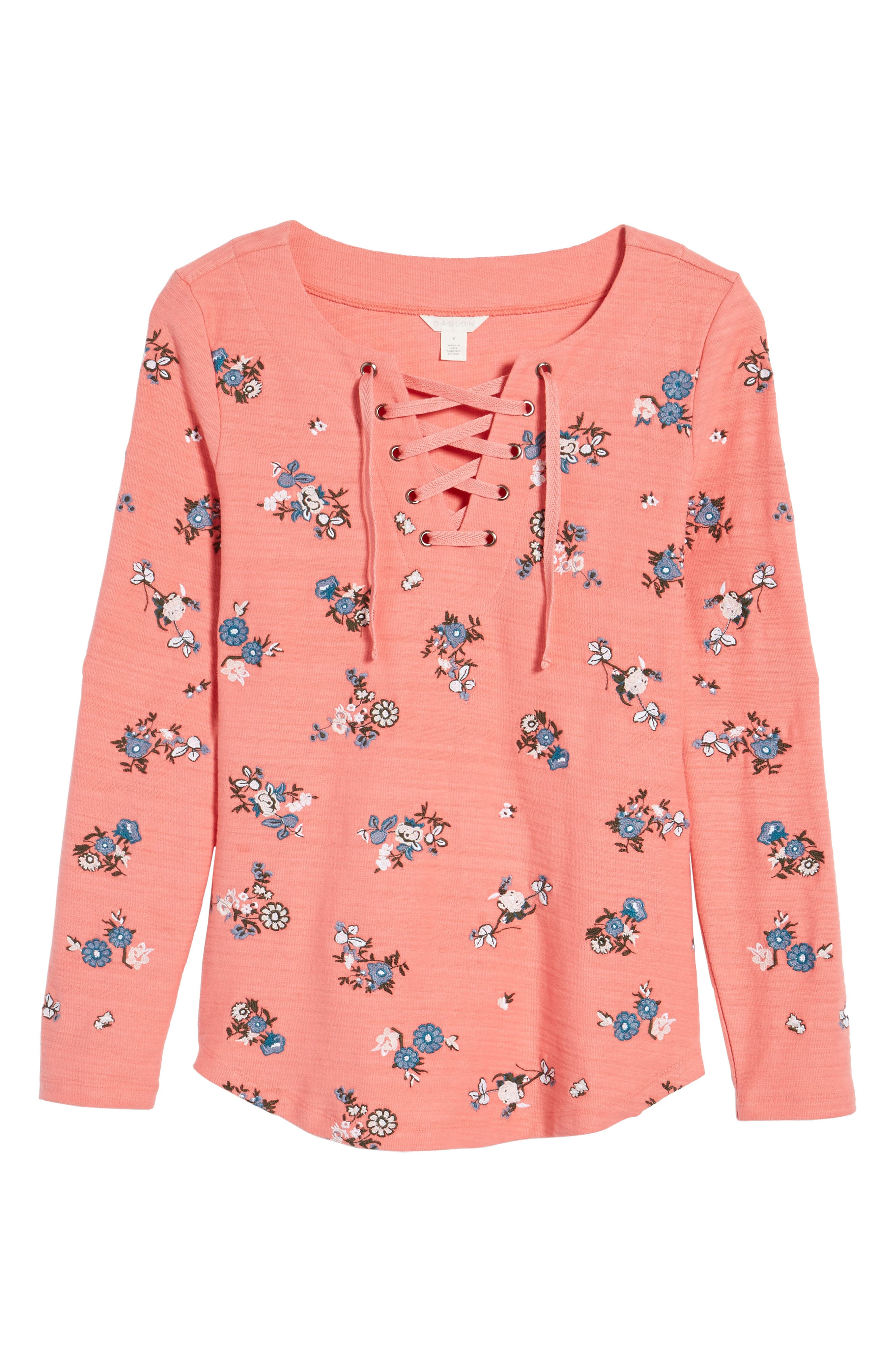 Lace-Up Neck Floral Embroidered Sweatshirt,                             Alternate thumbnail 12, color,