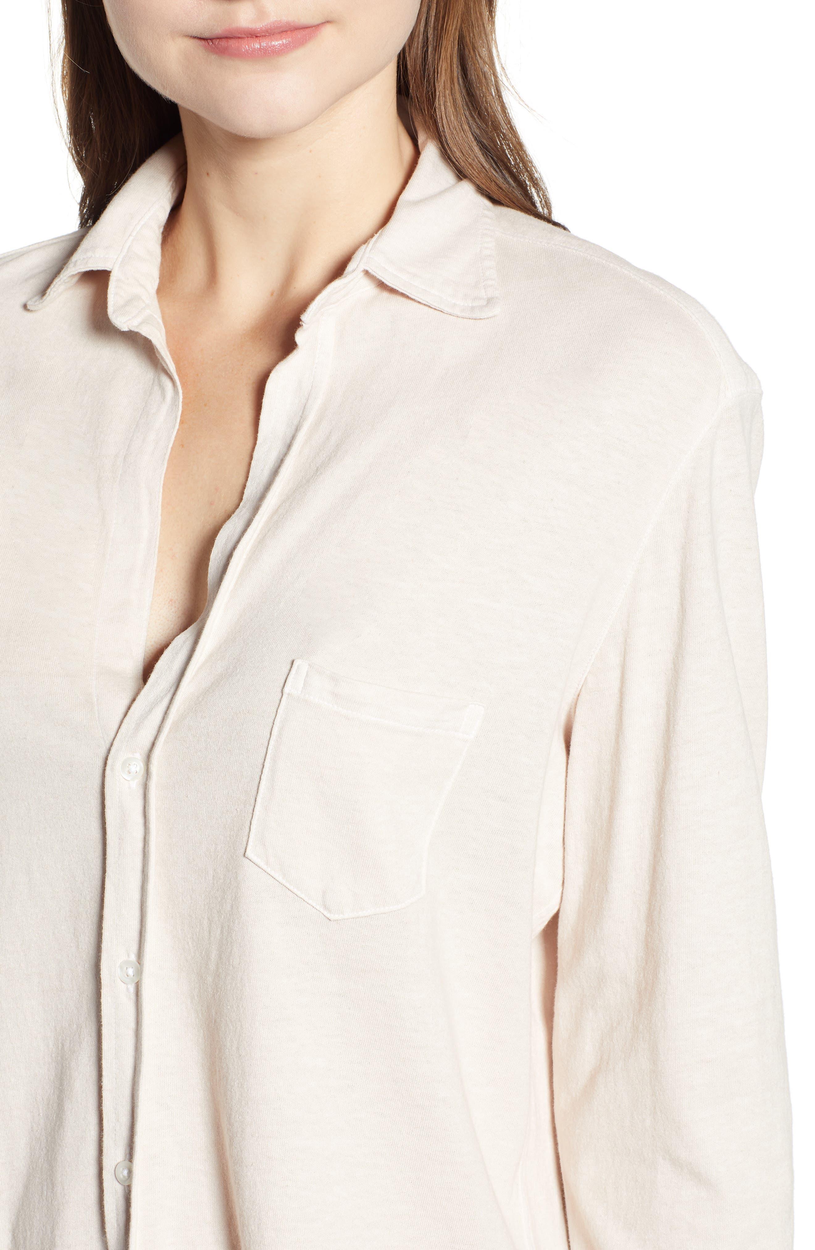 Eileen Jersey Button Front Shirt,                             Alternate thumbnail 4, color,                             NO FILTER