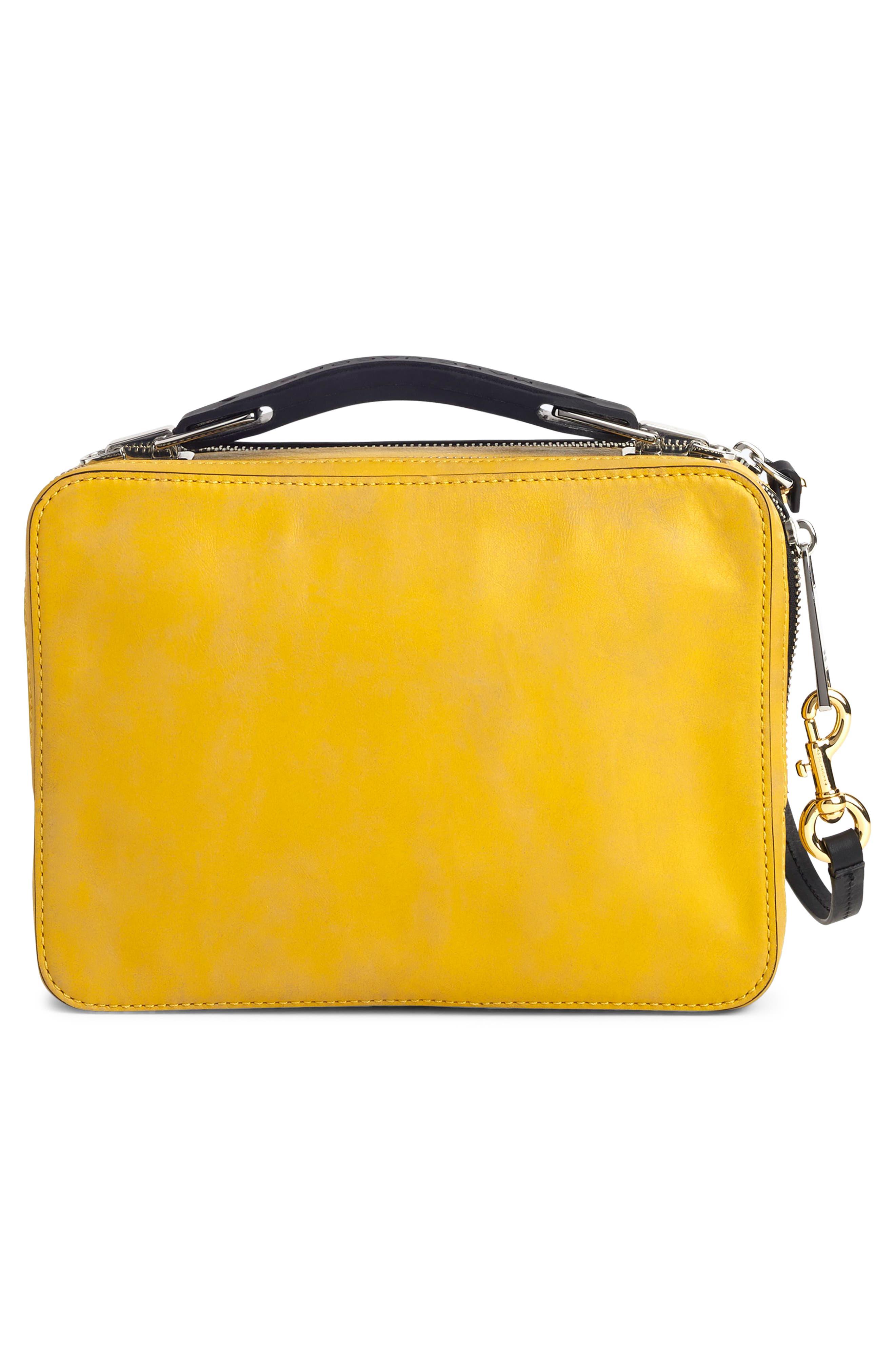 The Box Leather Handbag,                             Alternate thumbnail 3, color,                             YELLOW