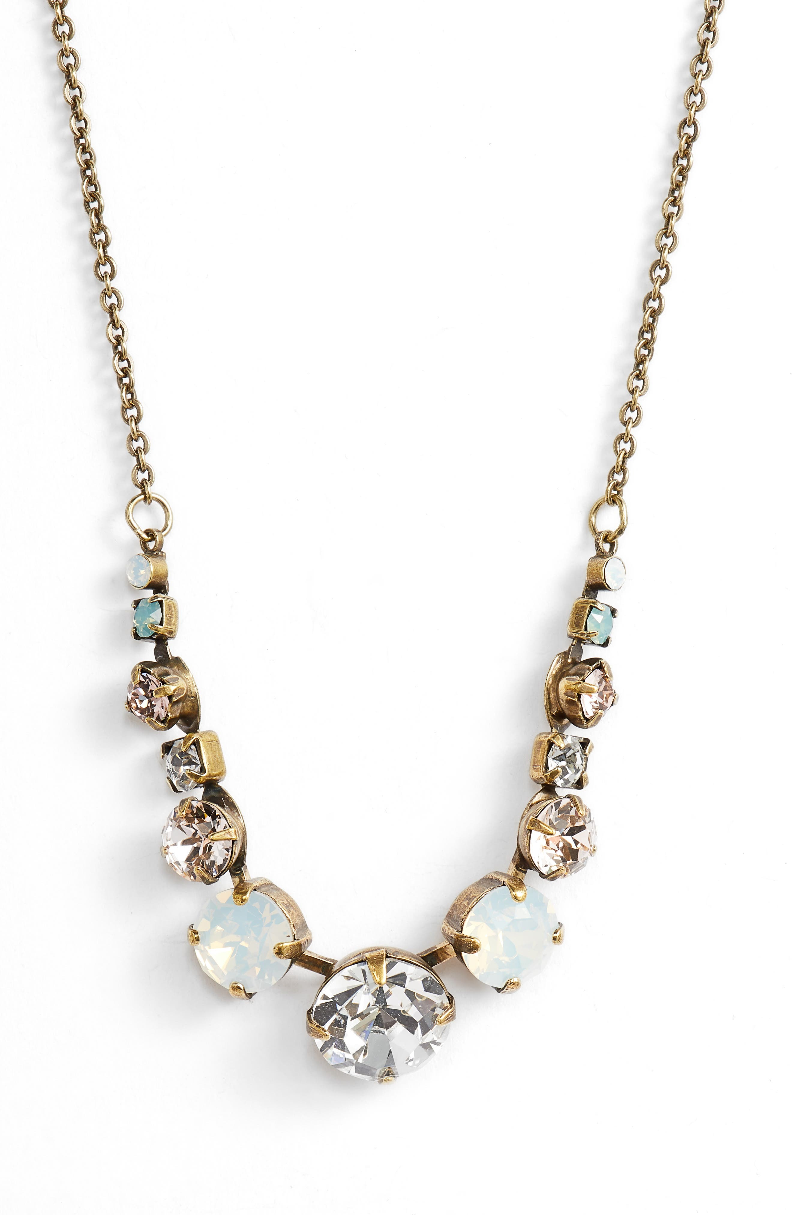 Twinkling Thistle Crystal Necklace,                             Main thumbnail 4, color,