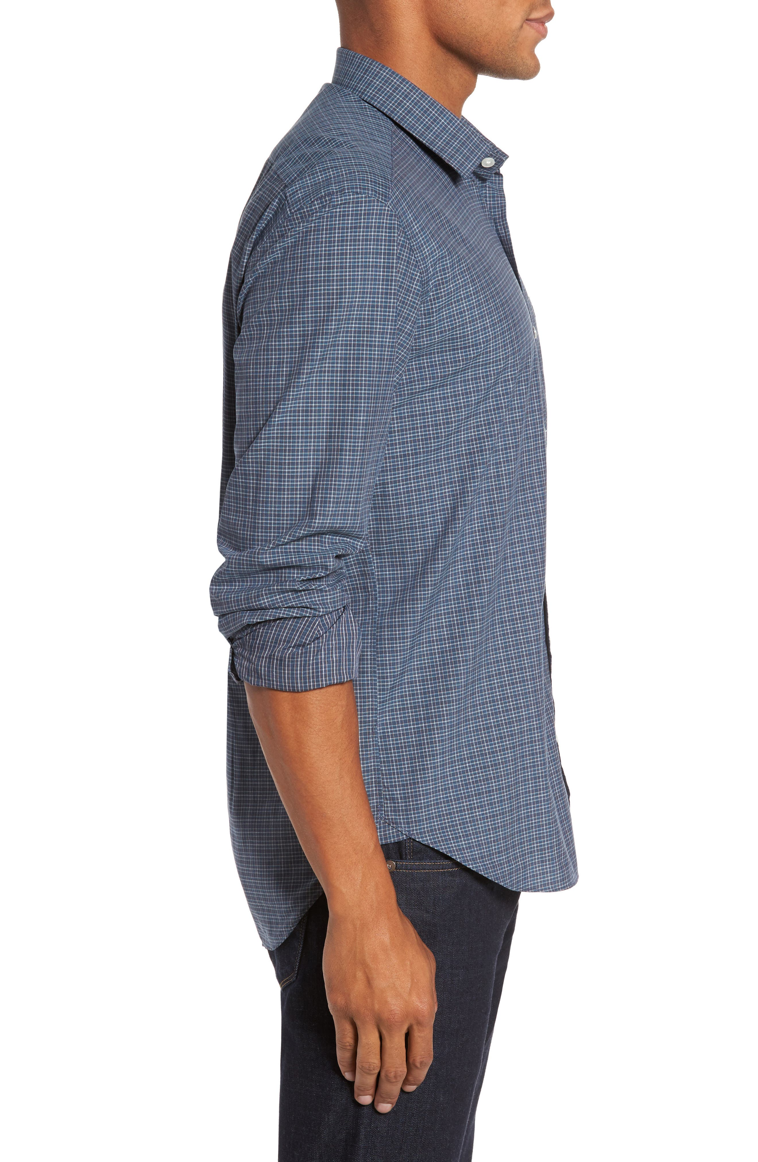 Slim Fit Plaid Sport Shirt,                             Alternate thumbnail 3, color,                             400