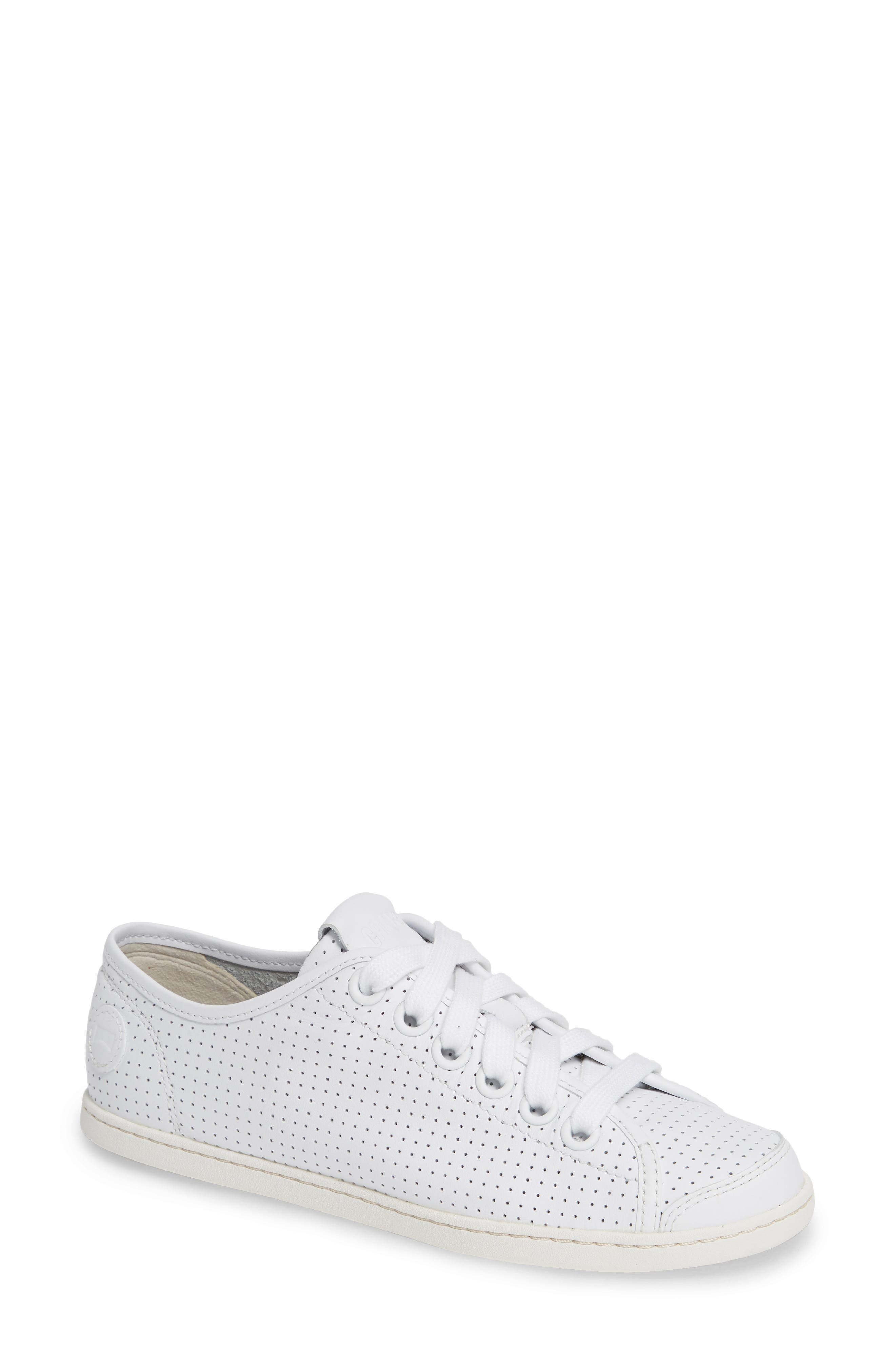 CAMPER Uno Perforated Sneaker in White Natural Leather