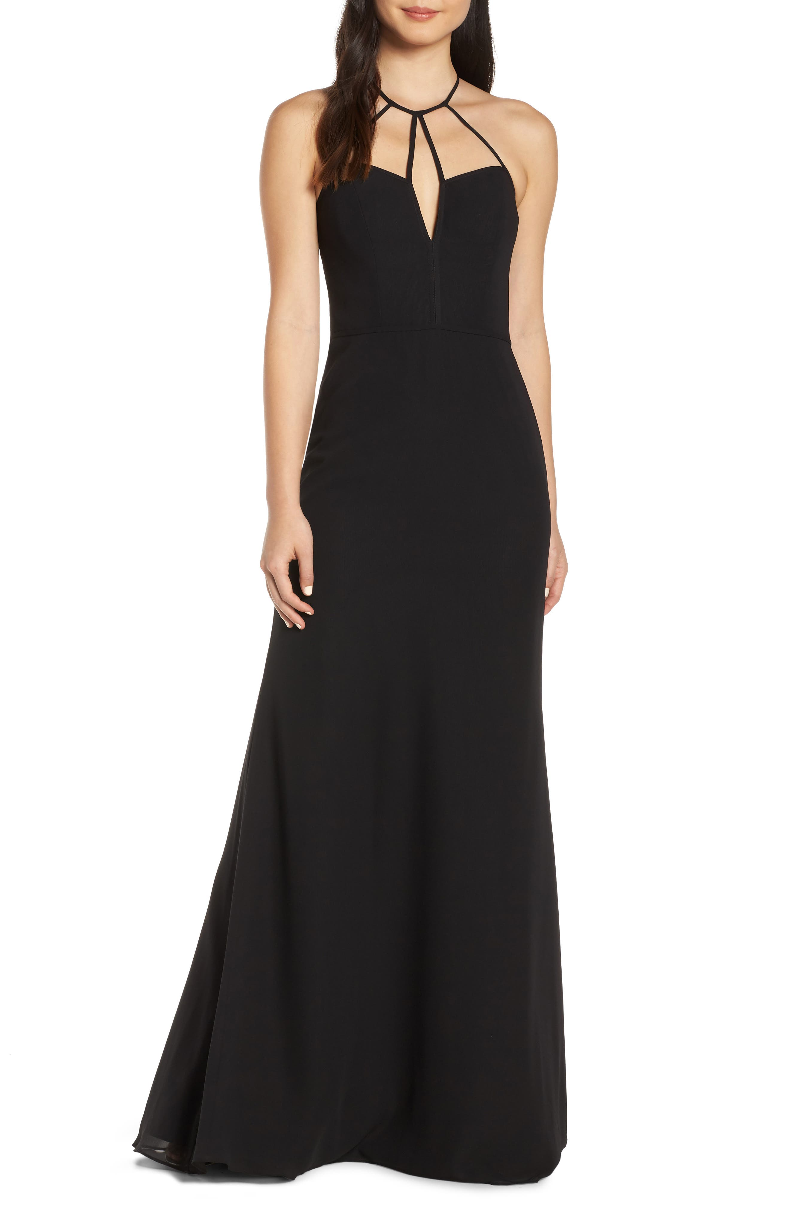 Hayley Paige Occasions Strappy Detail Chiffon Evening Dress, Black
