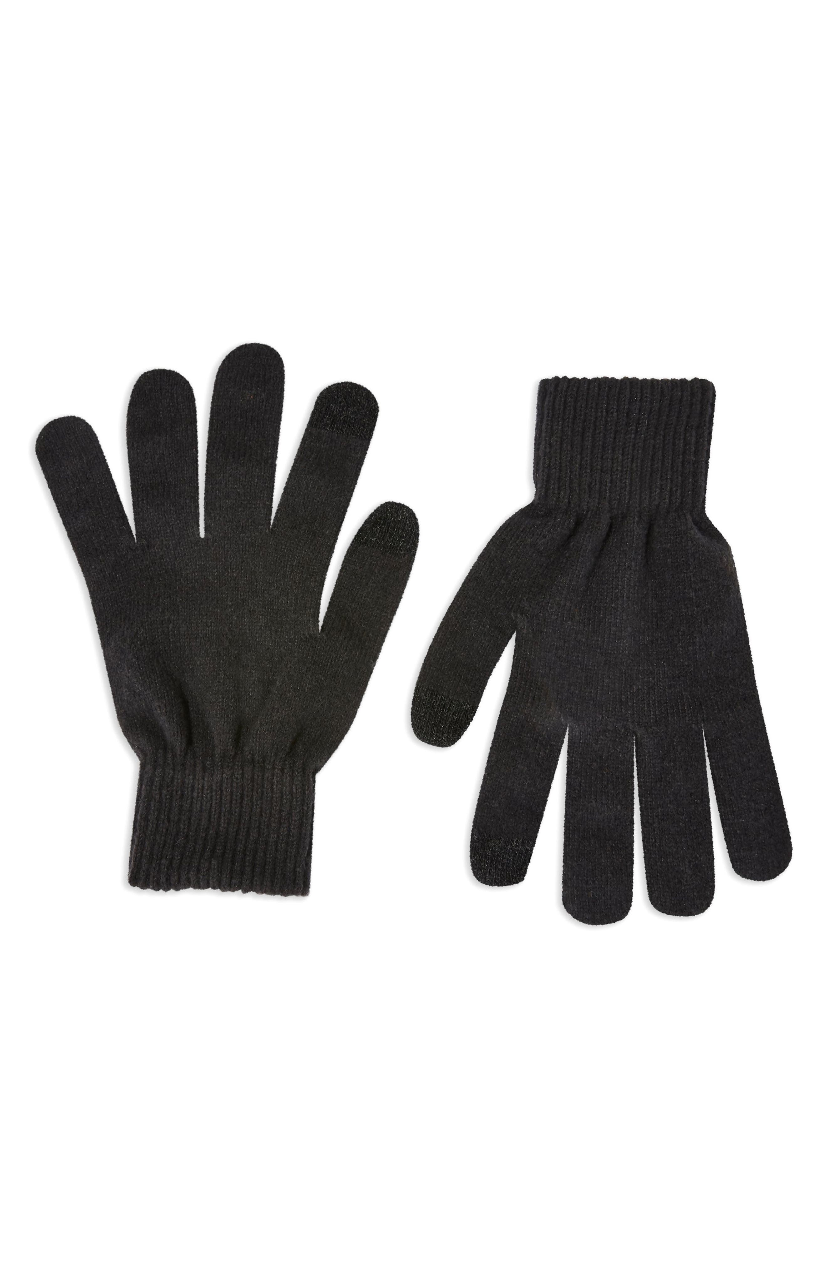 TOPSHOP Knit Touchscreen Gloves, Main, color, BLACK