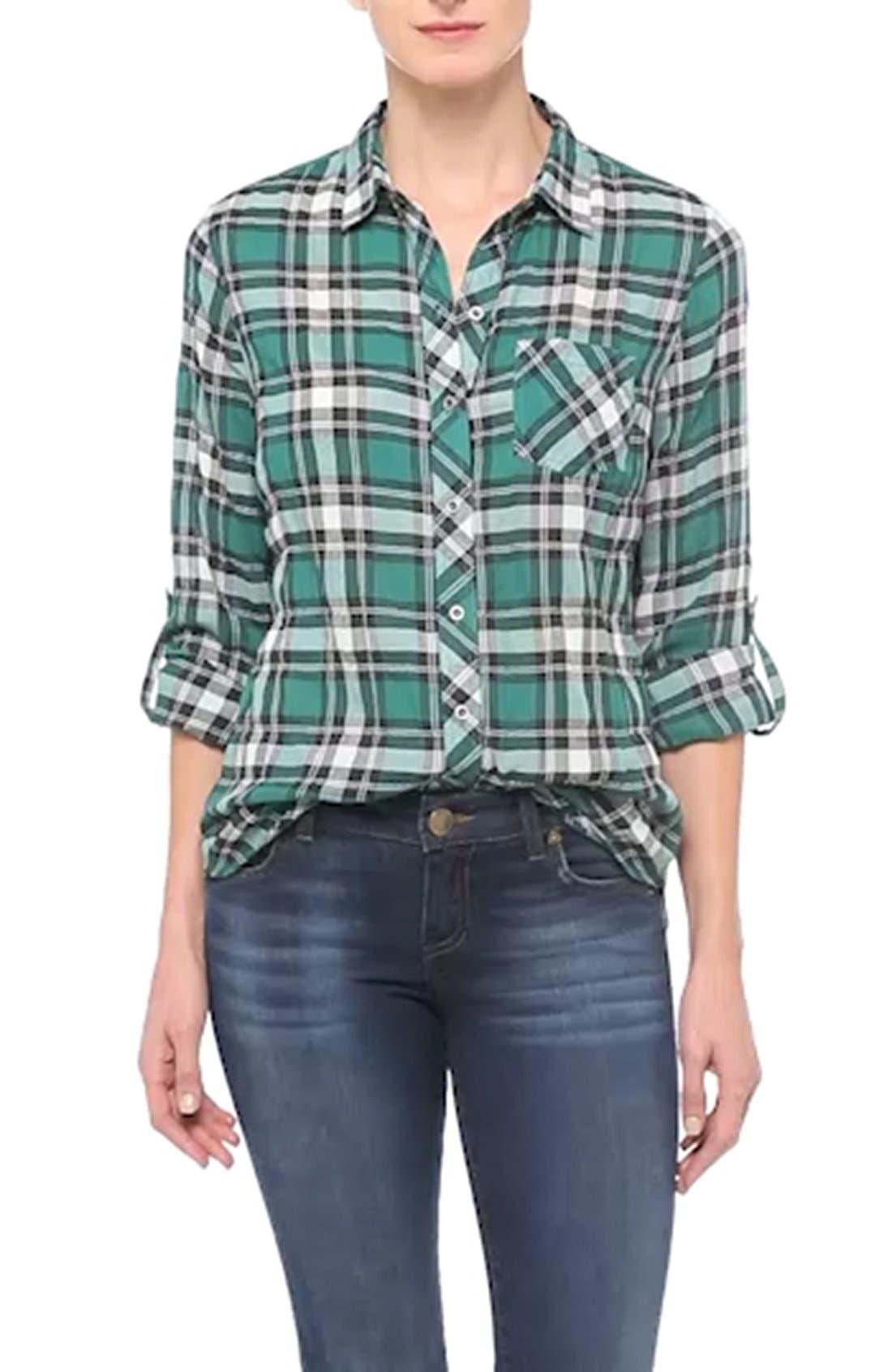 Roll Sleeve Woven Plaid Shirt,                             Alternate thumbnail 3, color,                             300