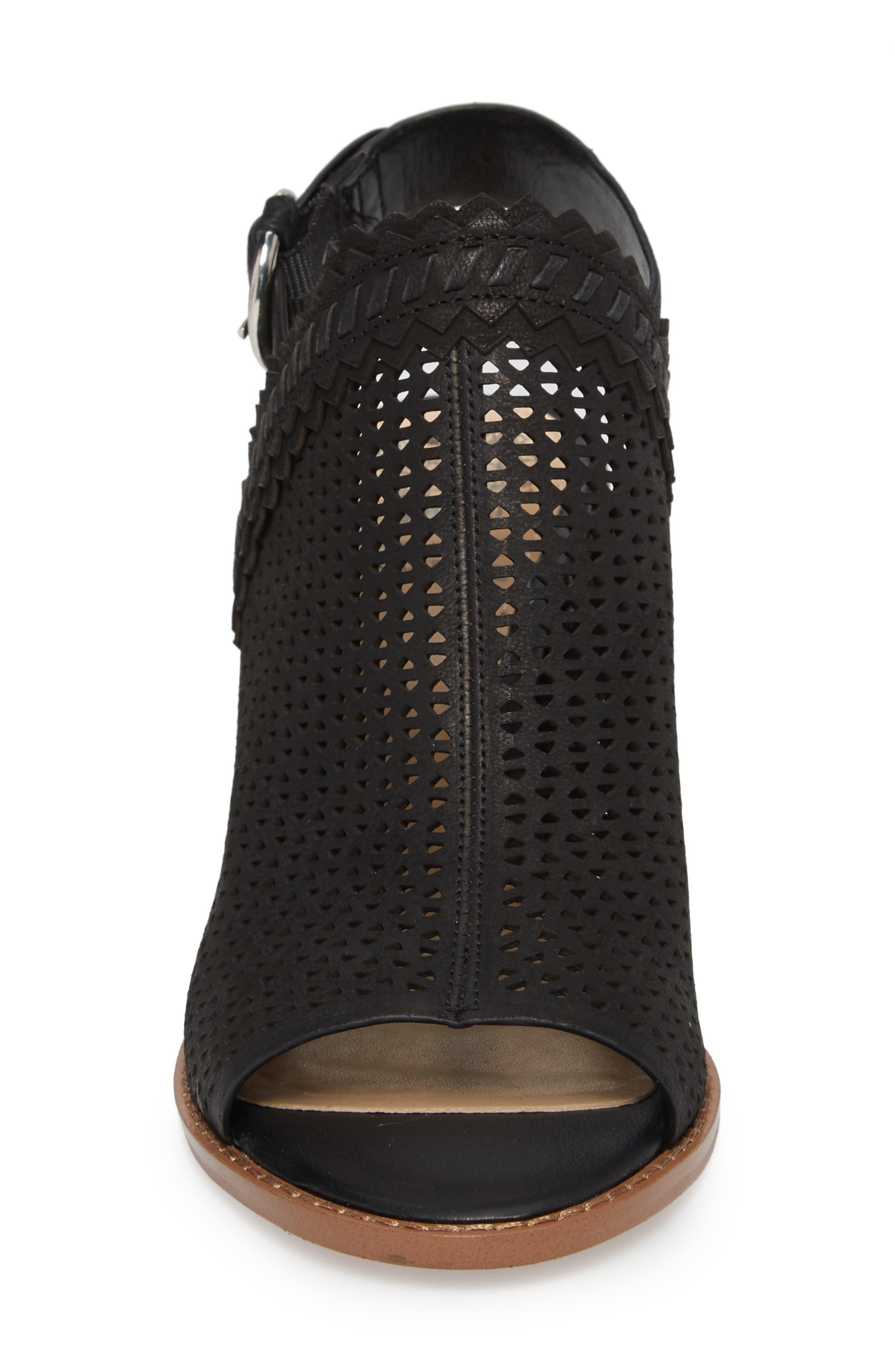 Tricinda Block Heel Sandal,                             Alternate thumbnail 4, color,                             BLACK LEATHER