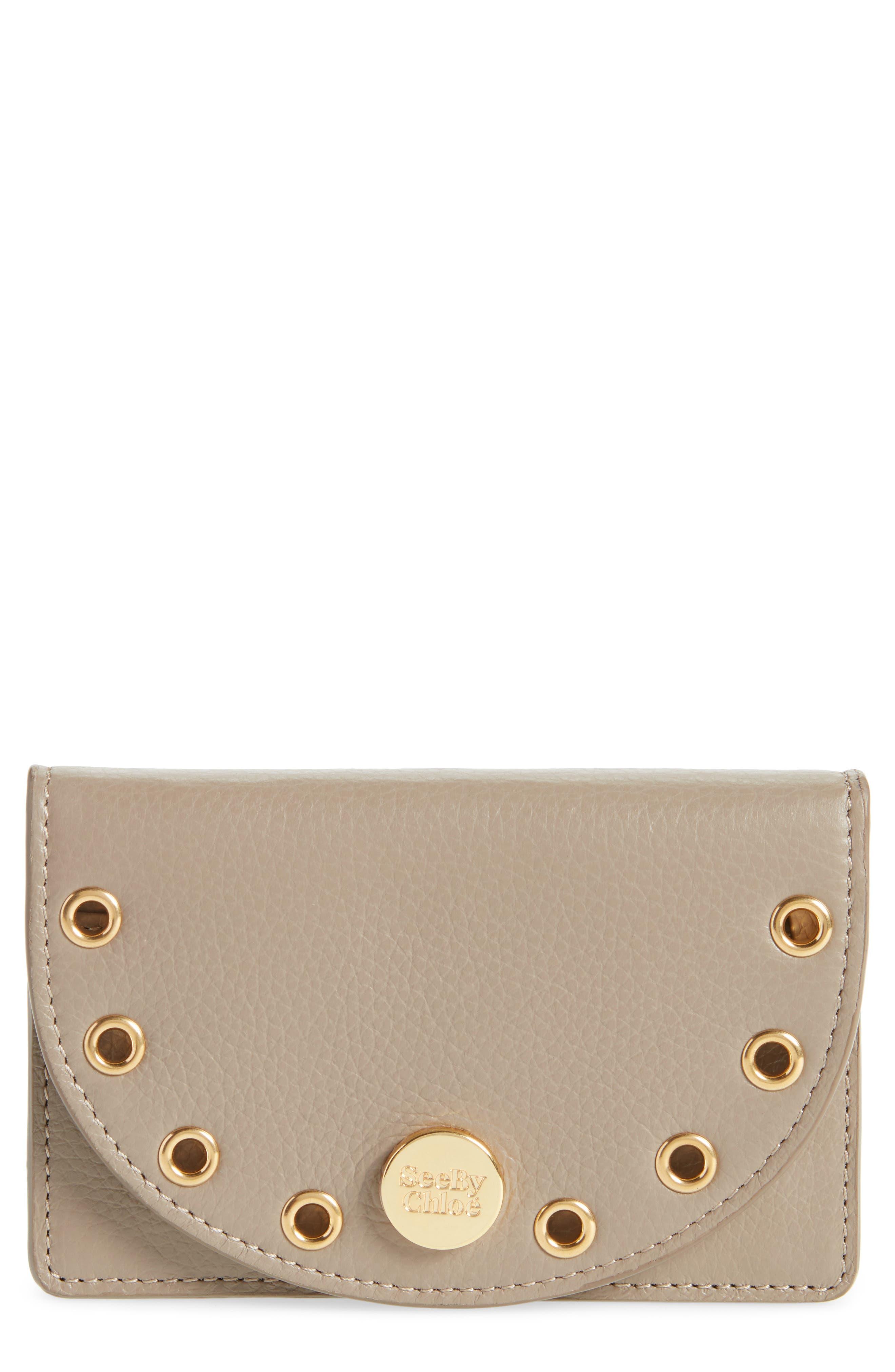 Kriss Grommet Leather Card Wallet,                             Main thumbnail 1, color,                             020