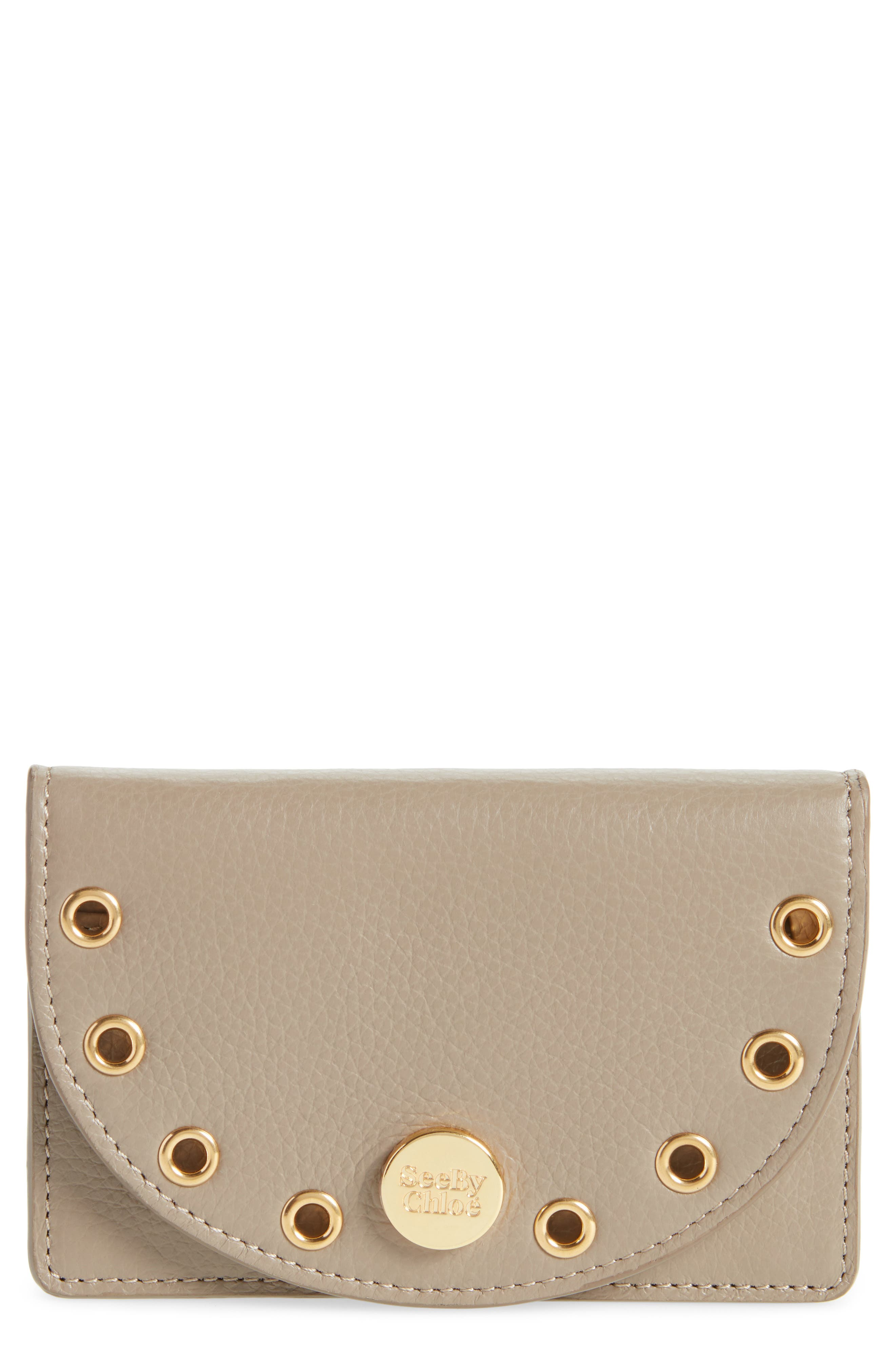 Kriss Grommet Leather Card Wallet,                         Main,                         color, 020