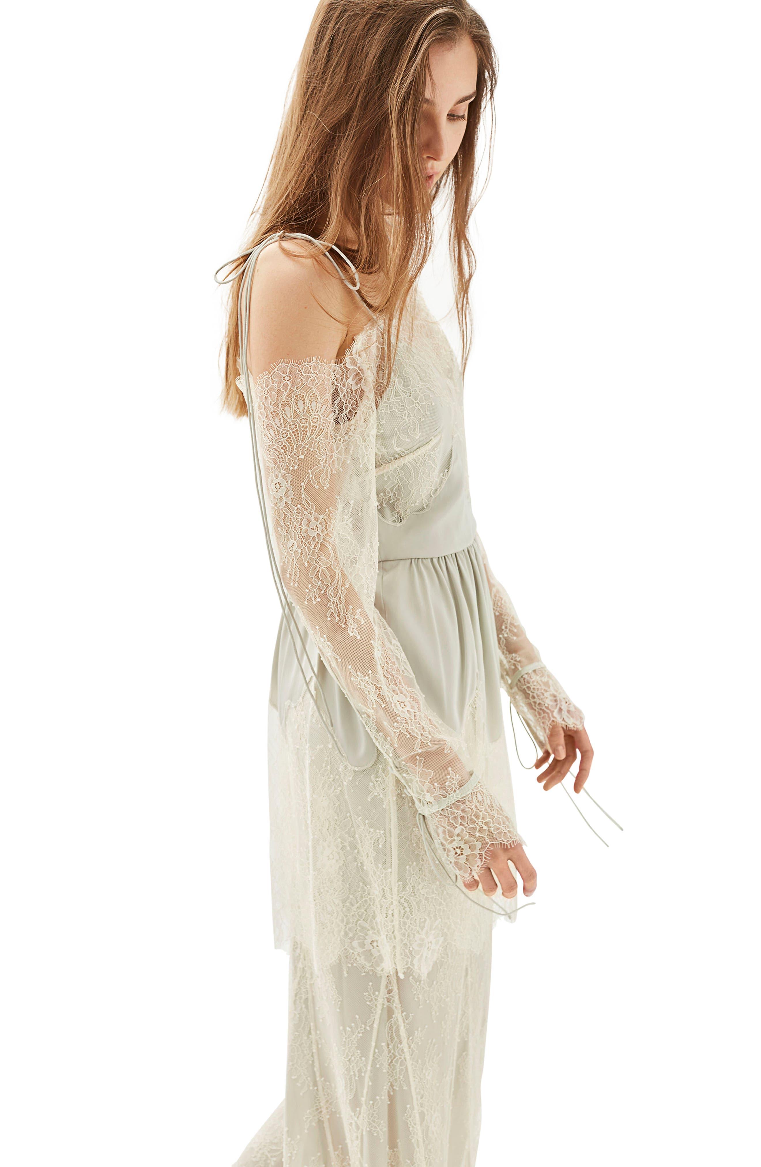 Bride Bardot Lace Off the Shoulder Gown,                             Alternate thumbnail 3, color,                             900